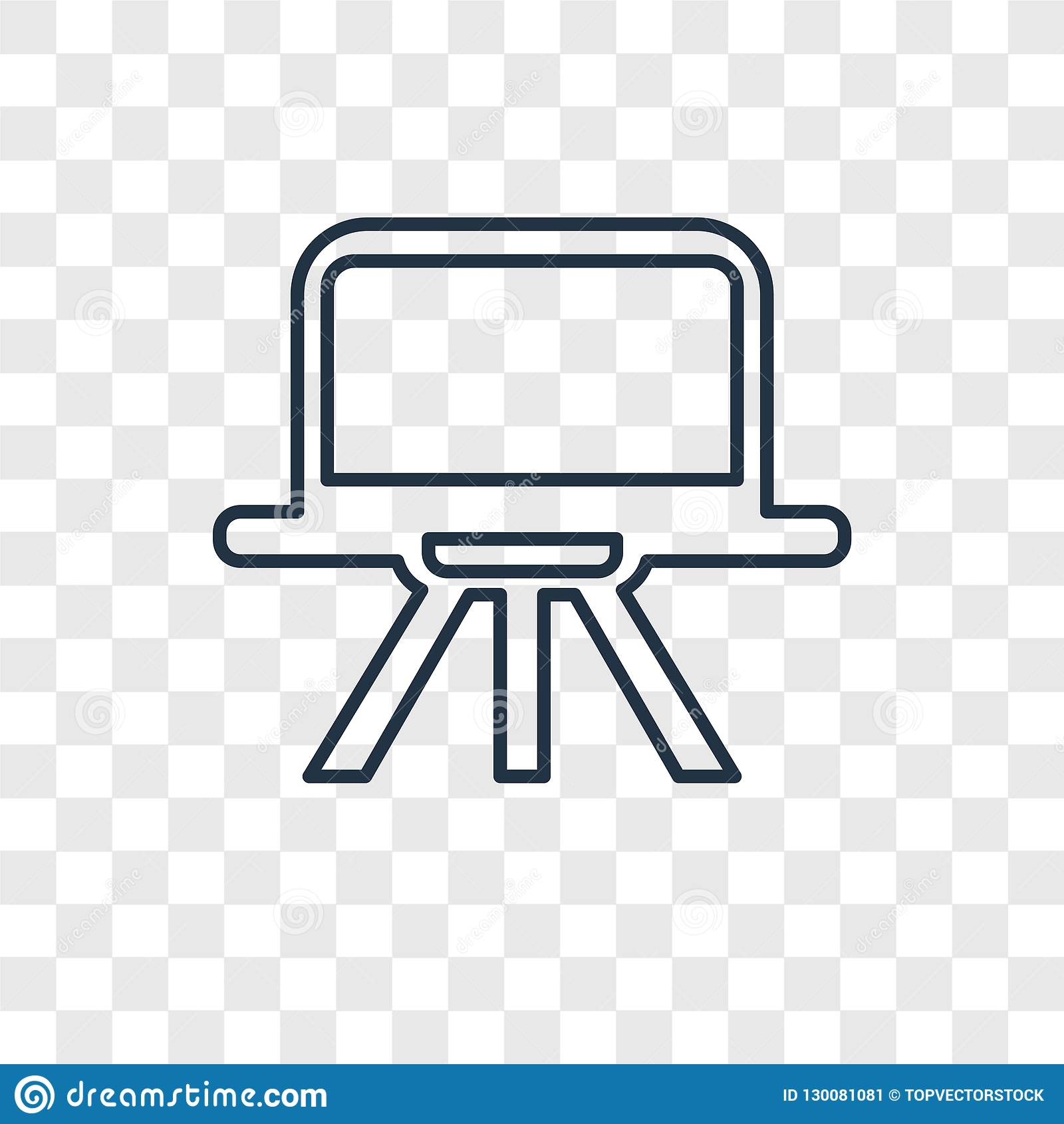 Sztuki Deskowego pojęcia wektorowa liniowa ikona na przejrzystym bac