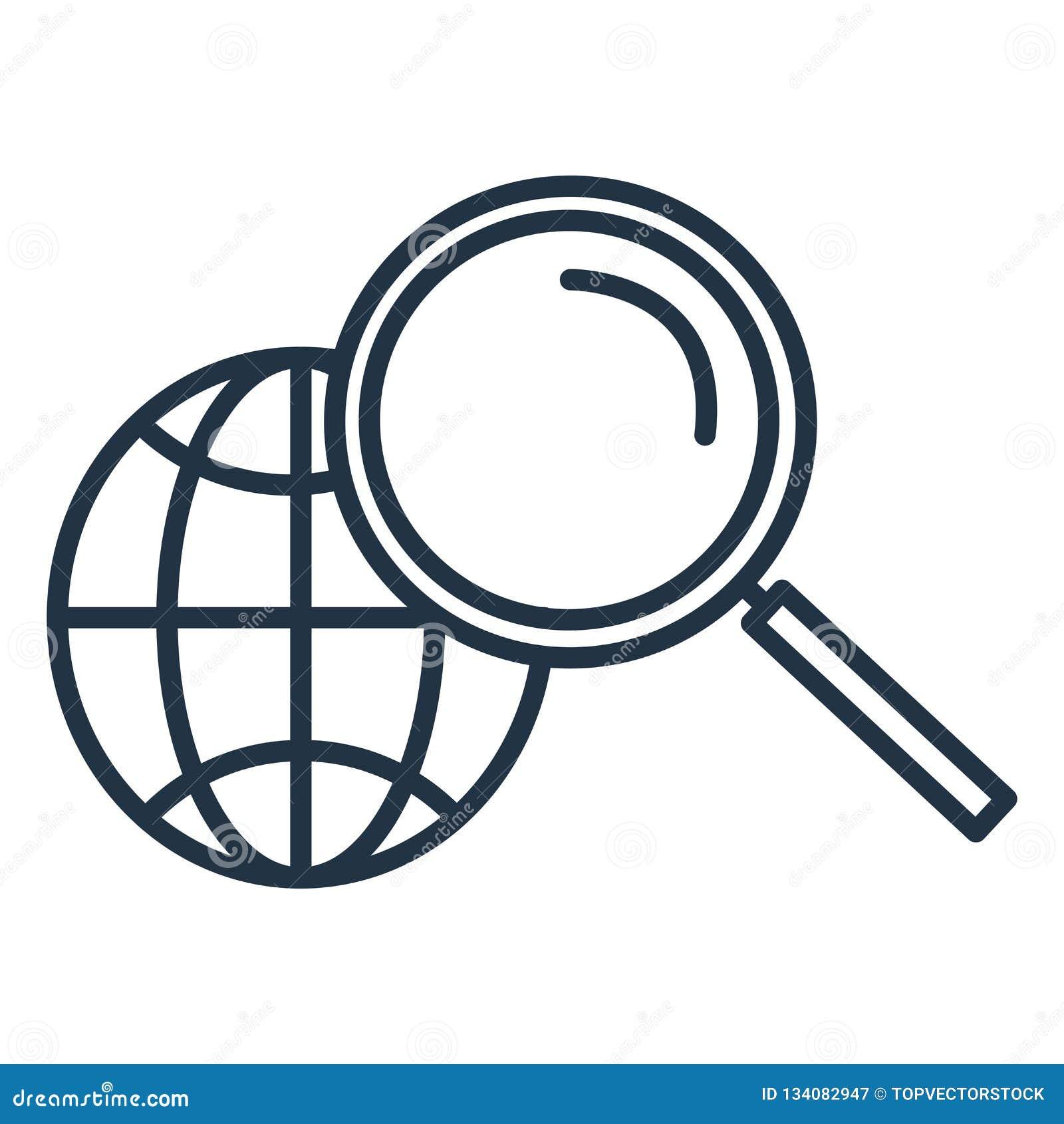 Szuka ikona wektor odizolowywającego na białym tle, rewizja znak