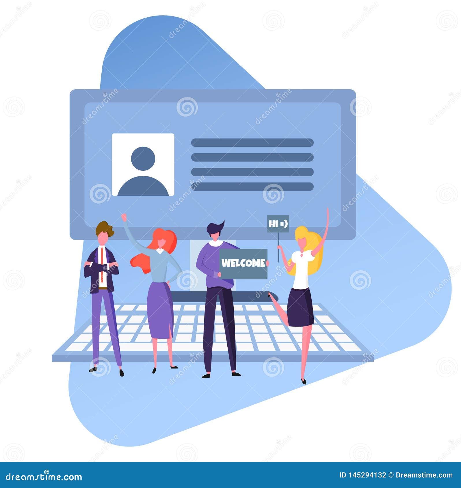 Szuka nowego pracownika i zatrudnia, życzliwa drużyna urzędnicy szuka specjalisty, wektorowy wizerunek, płaski projekt, kolor