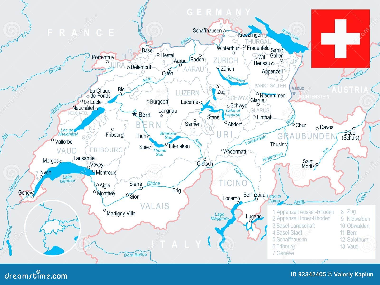 Szwajcaria Mapa I Flaga Ilustracja Ilustracji Ilustracja