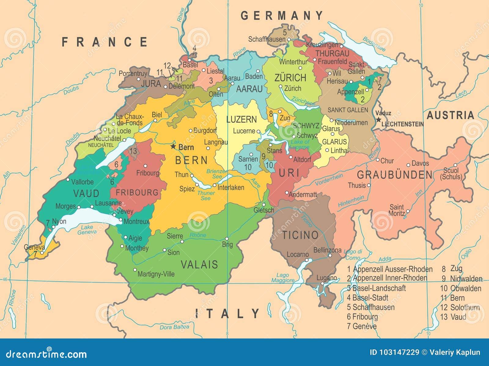 Szwajcaria Mapa Wektorowa Ilustracja Ilustracji Ilustracja