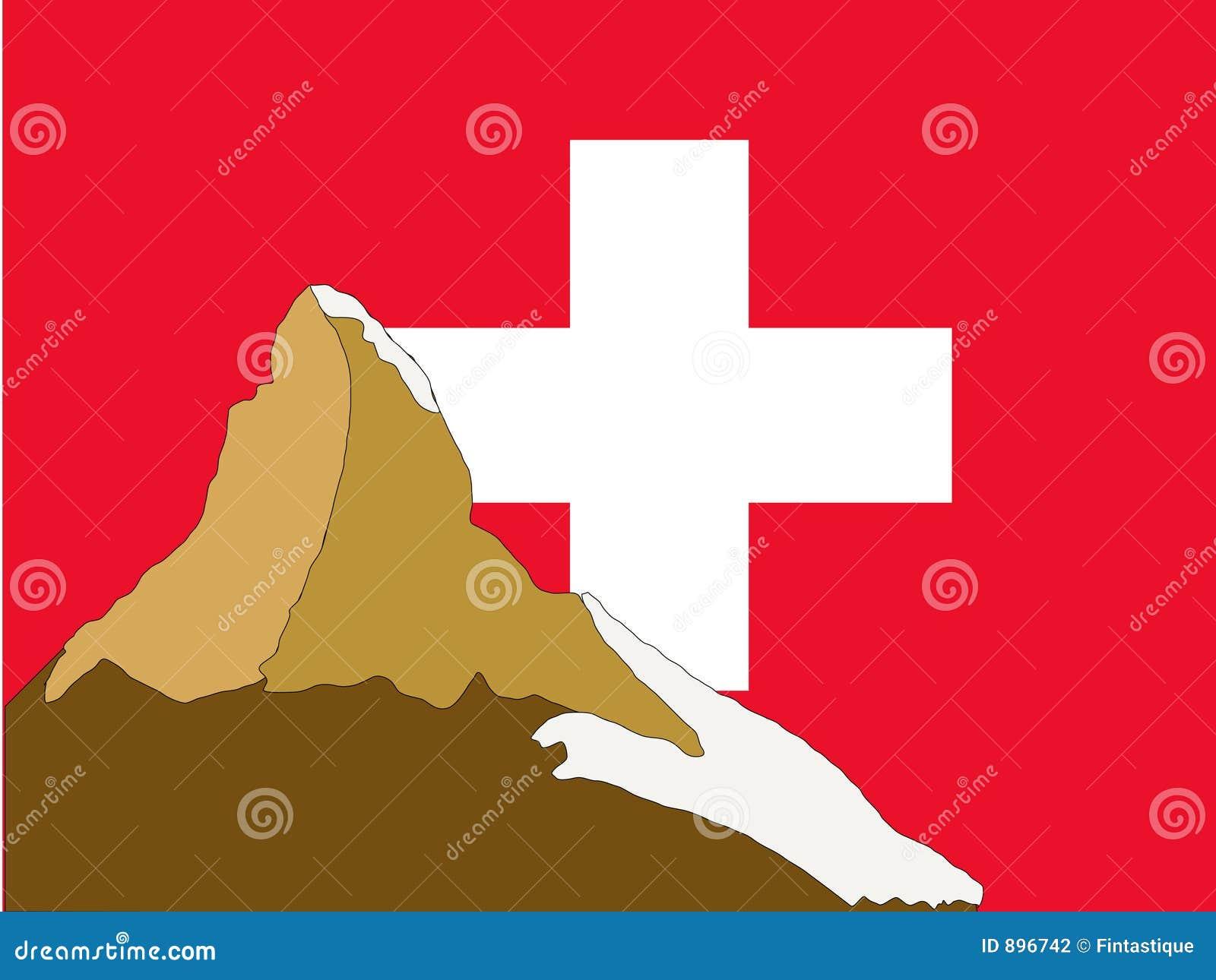 Szwajcarzy Matterhorn bandery