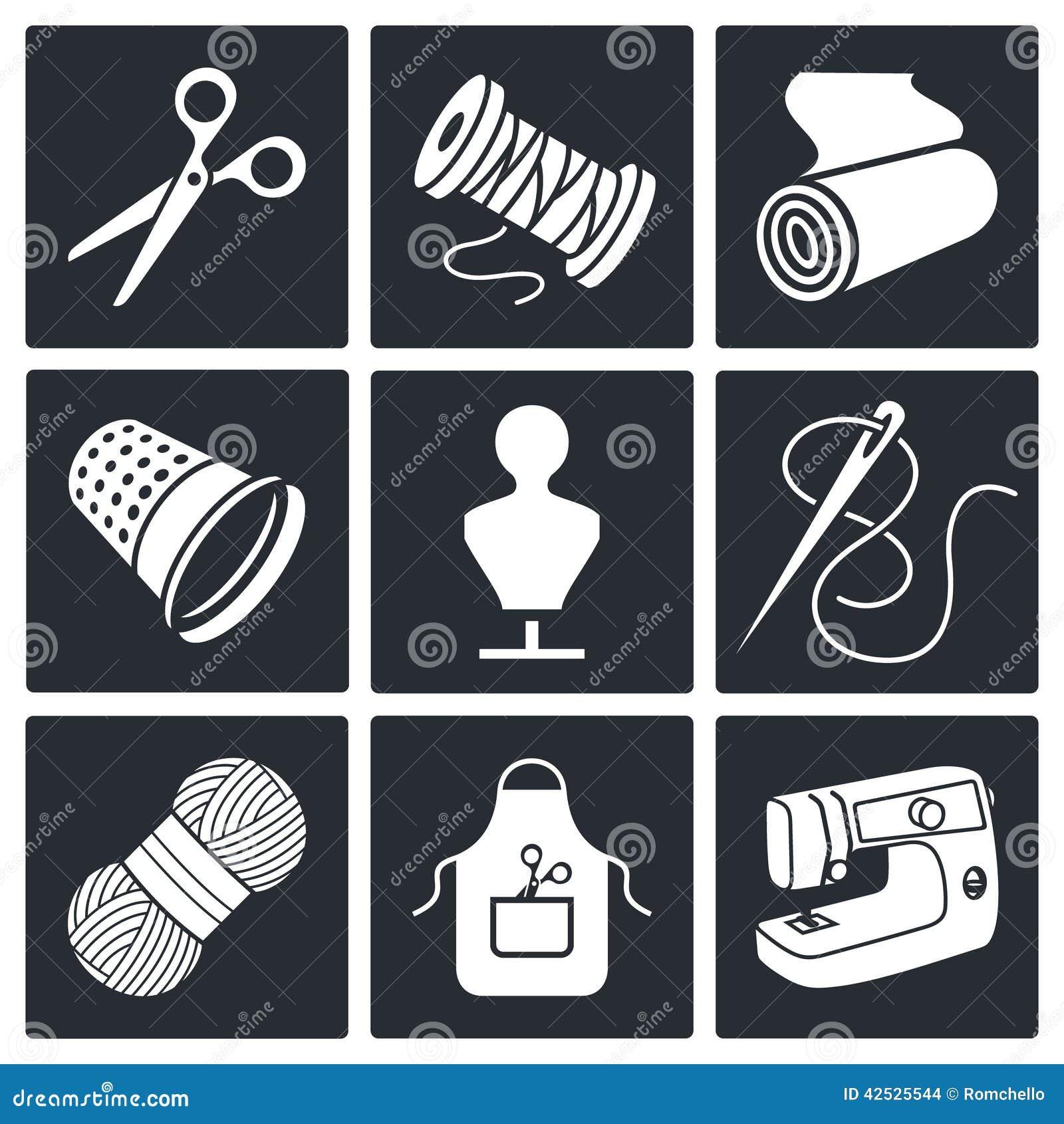 Szwalna ubraniowej manufaktury ikony kolekcja