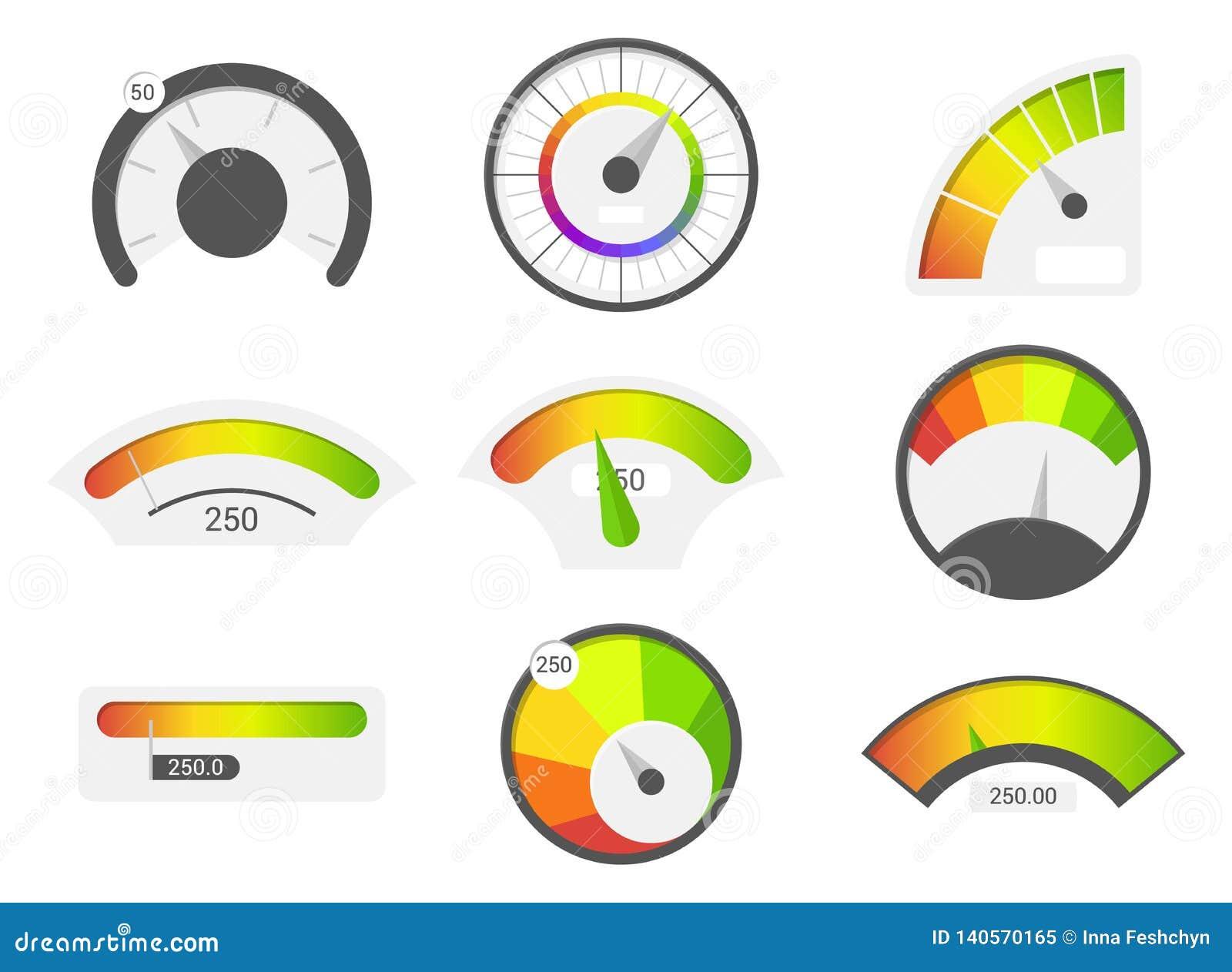 Szybkościomierz ikony Kredytowego wynika wskaźniki Szybkościomierzy towarów wymiernika ratingowy metr Równy wskaźnik, kredytowy p