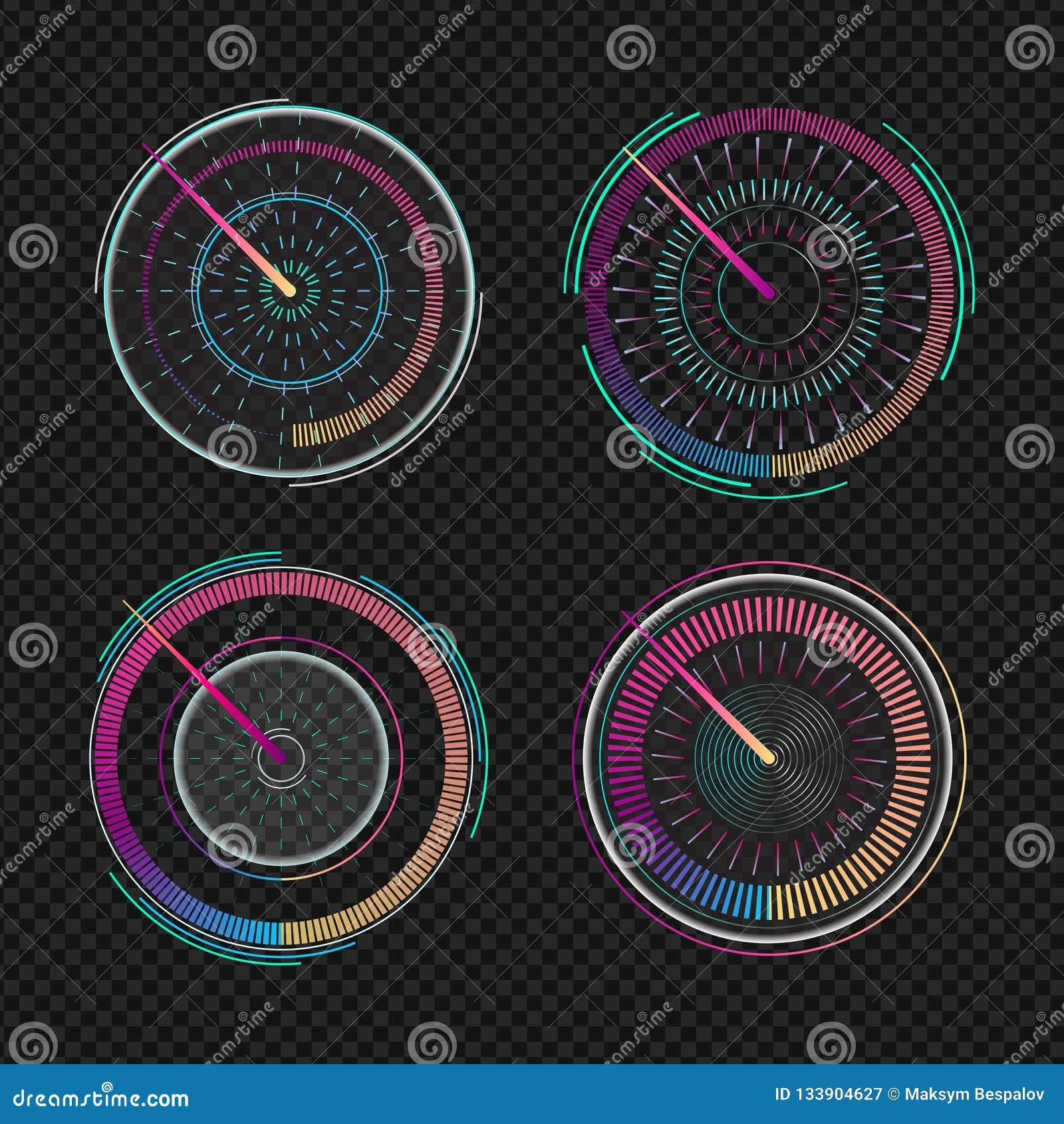 Szybkościomierze dla deski rozdzielczej Pomiarowej prędkości wskaźnika analogowy przyrząd Set odosobniony futurystyczny szybkości