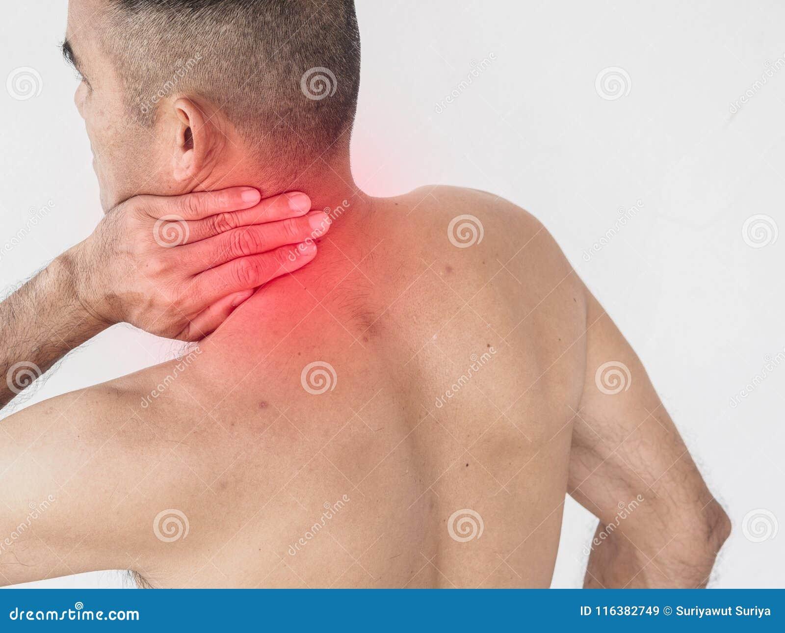 Szyja ból Mężczyzna z backache Odizolowywający na białym backgroun