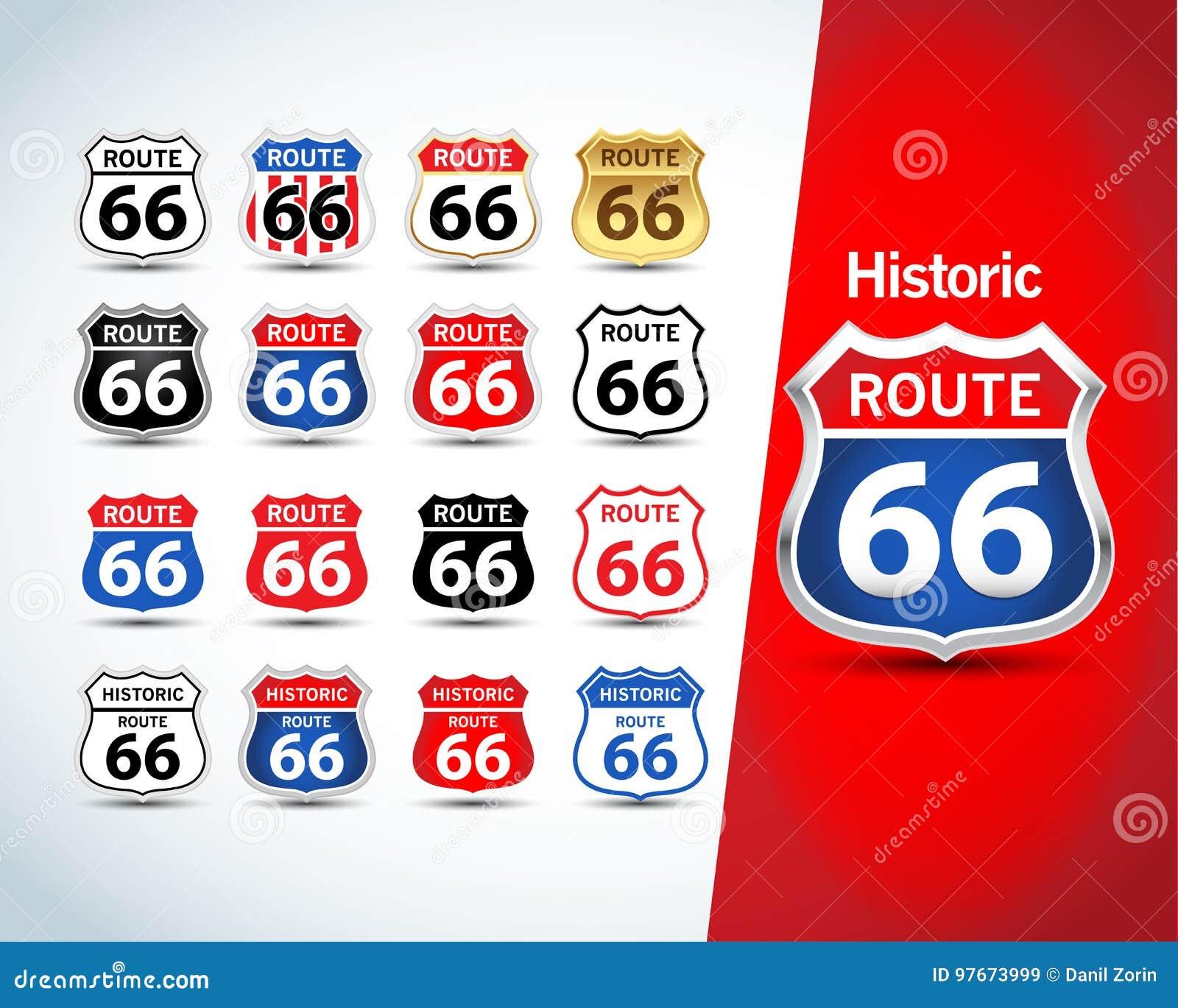 Szyldowy trasa set 66 Odosobneni trasy 66 emblematy, odznaki, koszulki odzieży grafika Odosobnione ilustracje