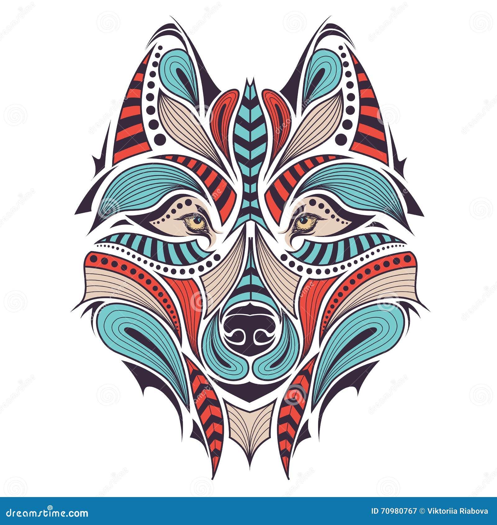 Souvent Loup Et Chef Indien. Tatouage Illustration Stock - Image: 38900874 YC51