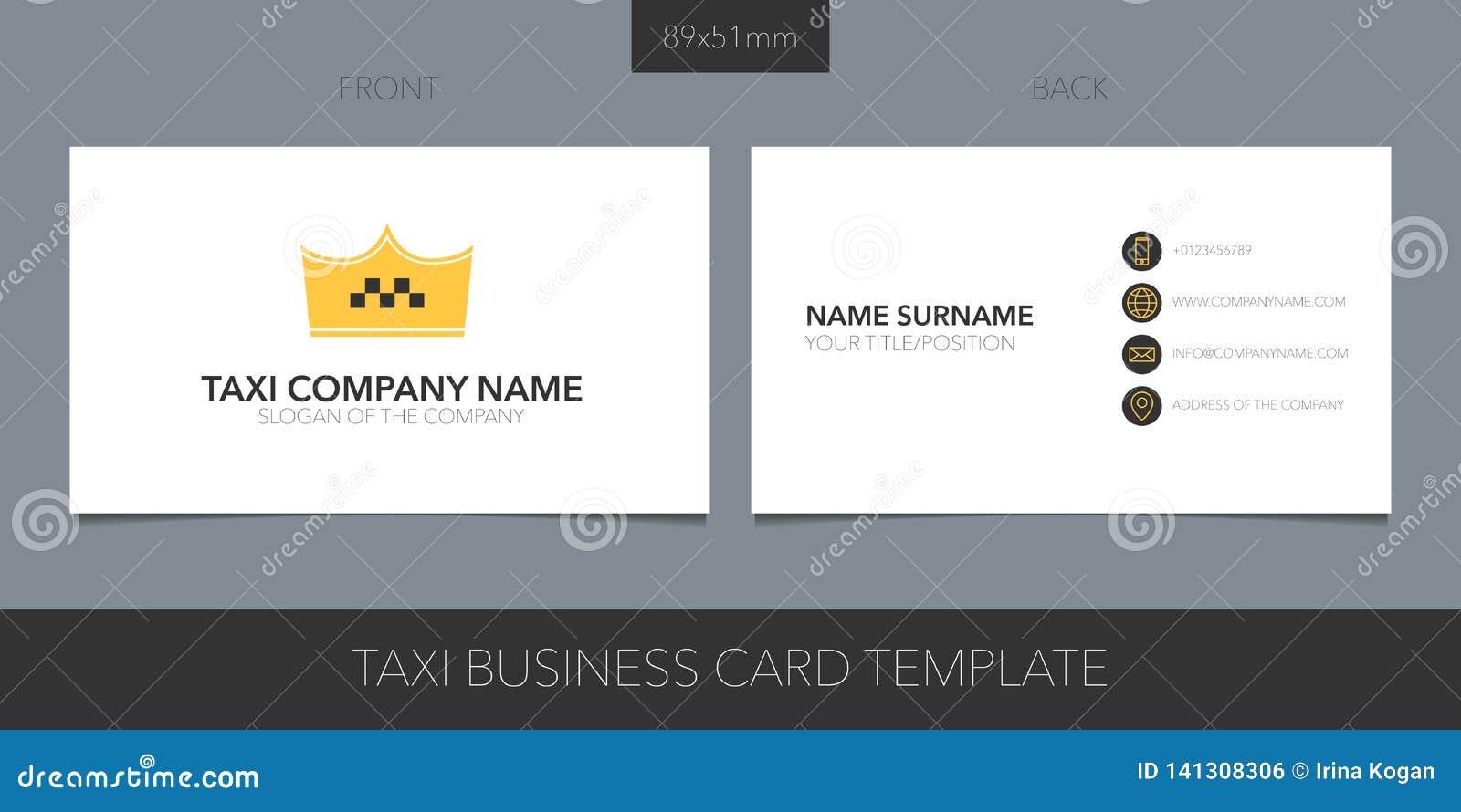 Táxi, disposição do vetor do táxi do cartão com detalhes incorporados do logotipo, do ícone e do molde