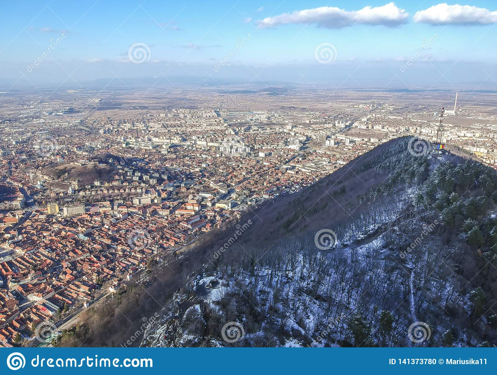 Tâmpa mountain and Brasov City , winter aerial landscape