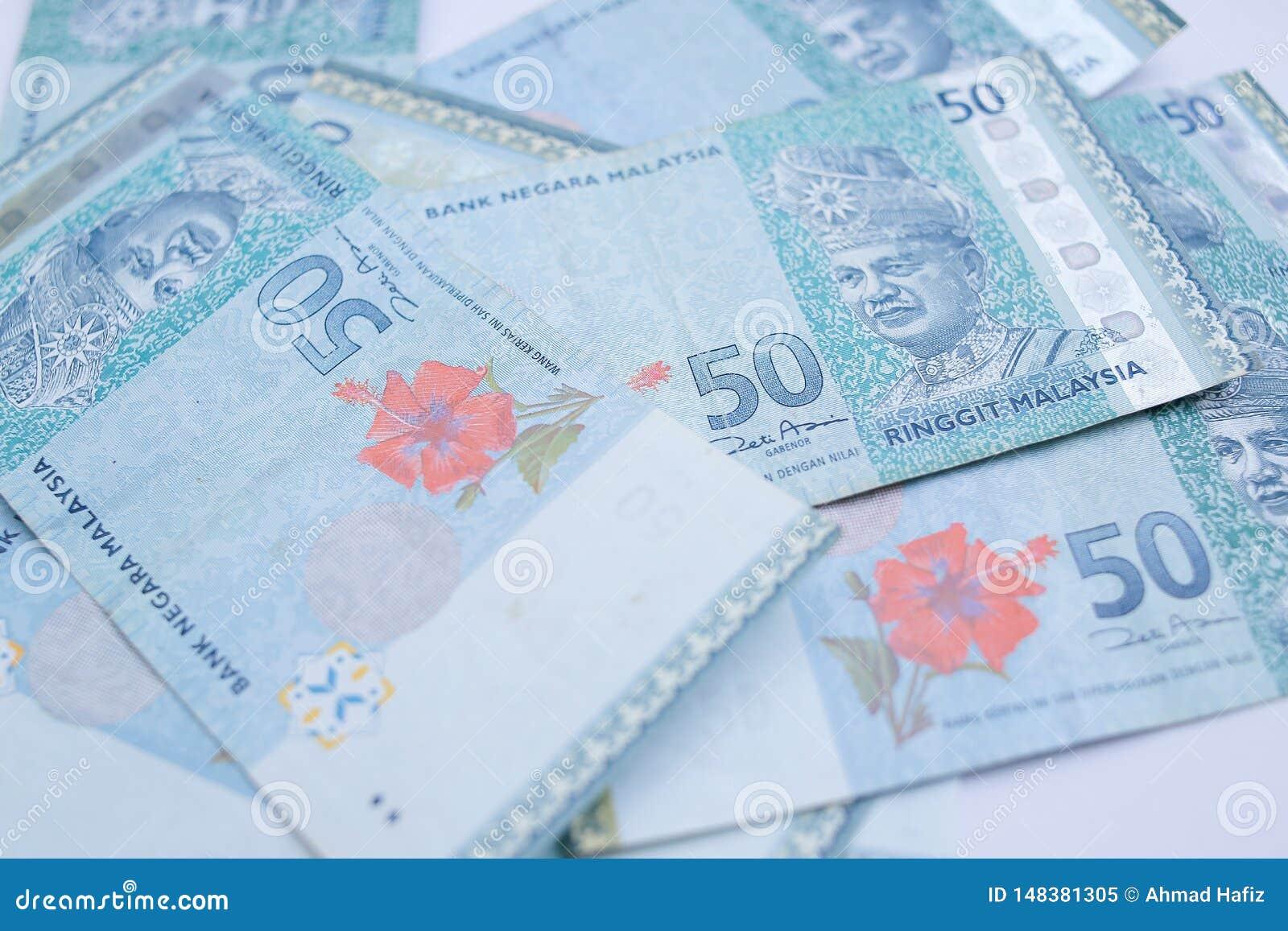T?tt upp den 50 ringgits Malaysia sedeln Ringgiten ?r den nationella valutan av Malaysia