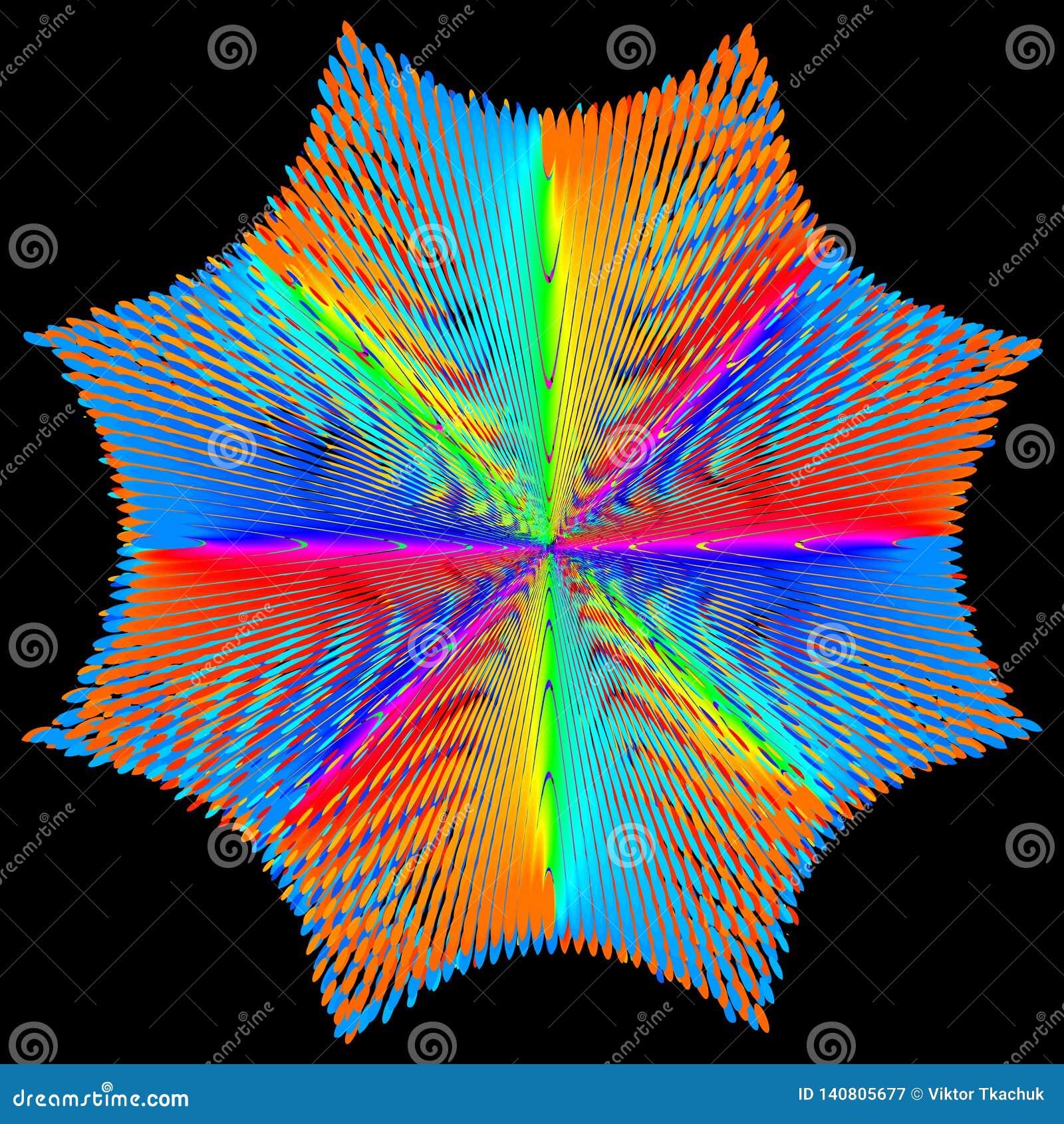 Tło, tekstura, abstrakt Koloru kwiat lub gwiazda izolujemy na czarnym tle
