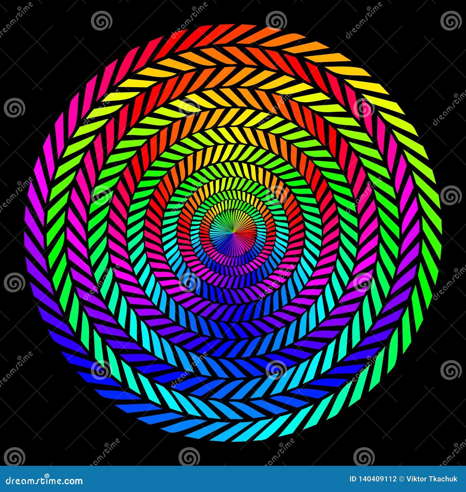 Tło w postaci kręconych spiral barwioni promienie na czarnym tle Wektorowa ilustracja dla sieć projekta
