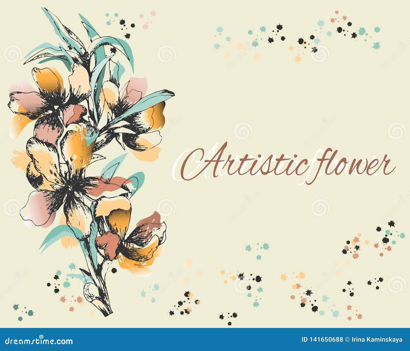 Tło z delikatnymi malującymi kwiatami Pocztówka, tekst rama Wiosna konturu kwiaty, akwarela również zwrócić corel ilustracji wekt