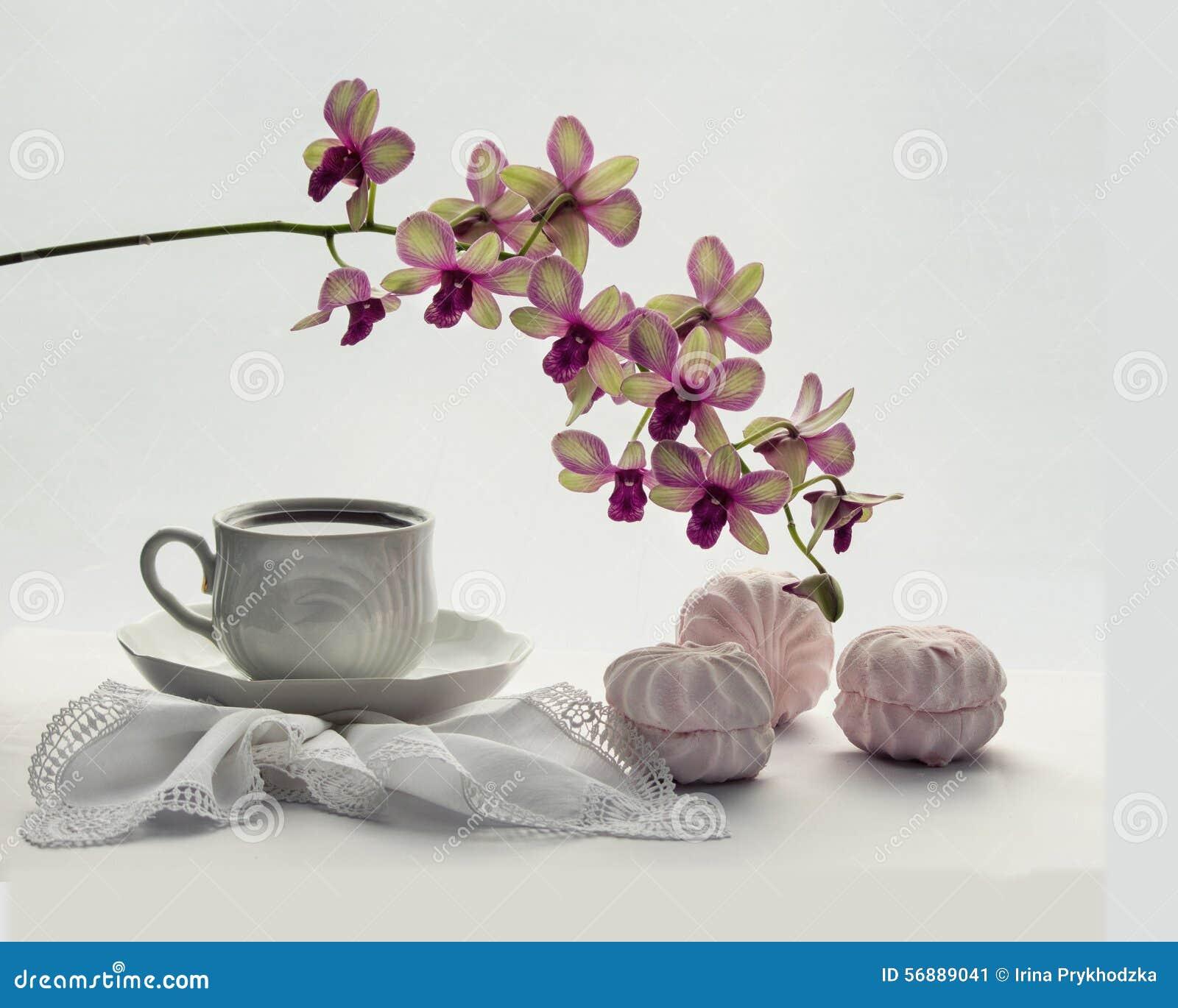 Tè con le caramelle gommosa e molle e l orchidea