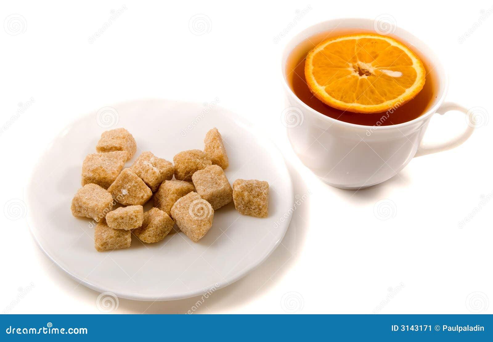 Tè e zucchero di canna di colore marrone