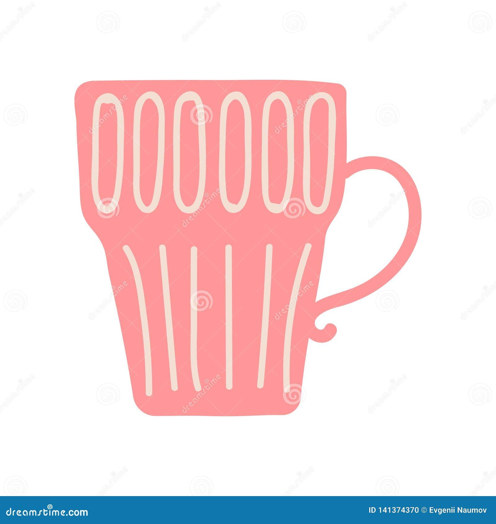 Tè o tazza da caffè rosso, illustrazione ceramica sveglia di vettore delle pentole delle terrecotte