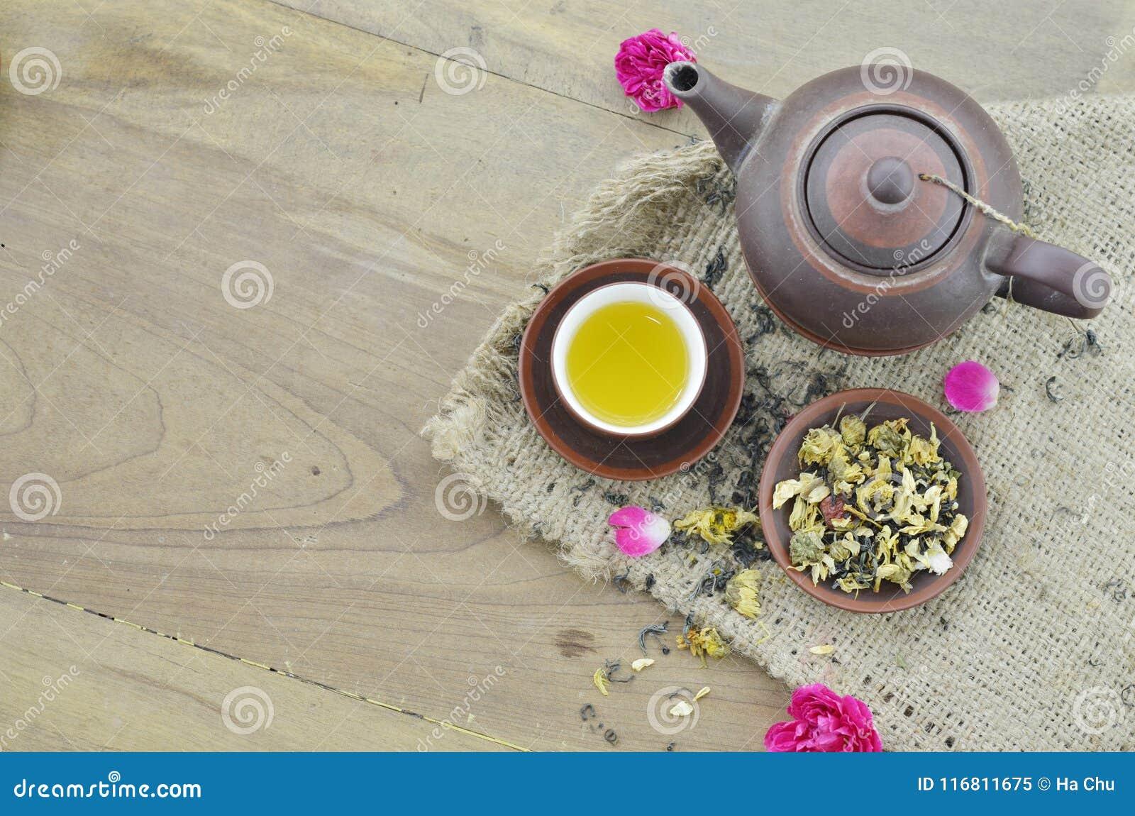 Tè in tazza e teiera su fondo di legno