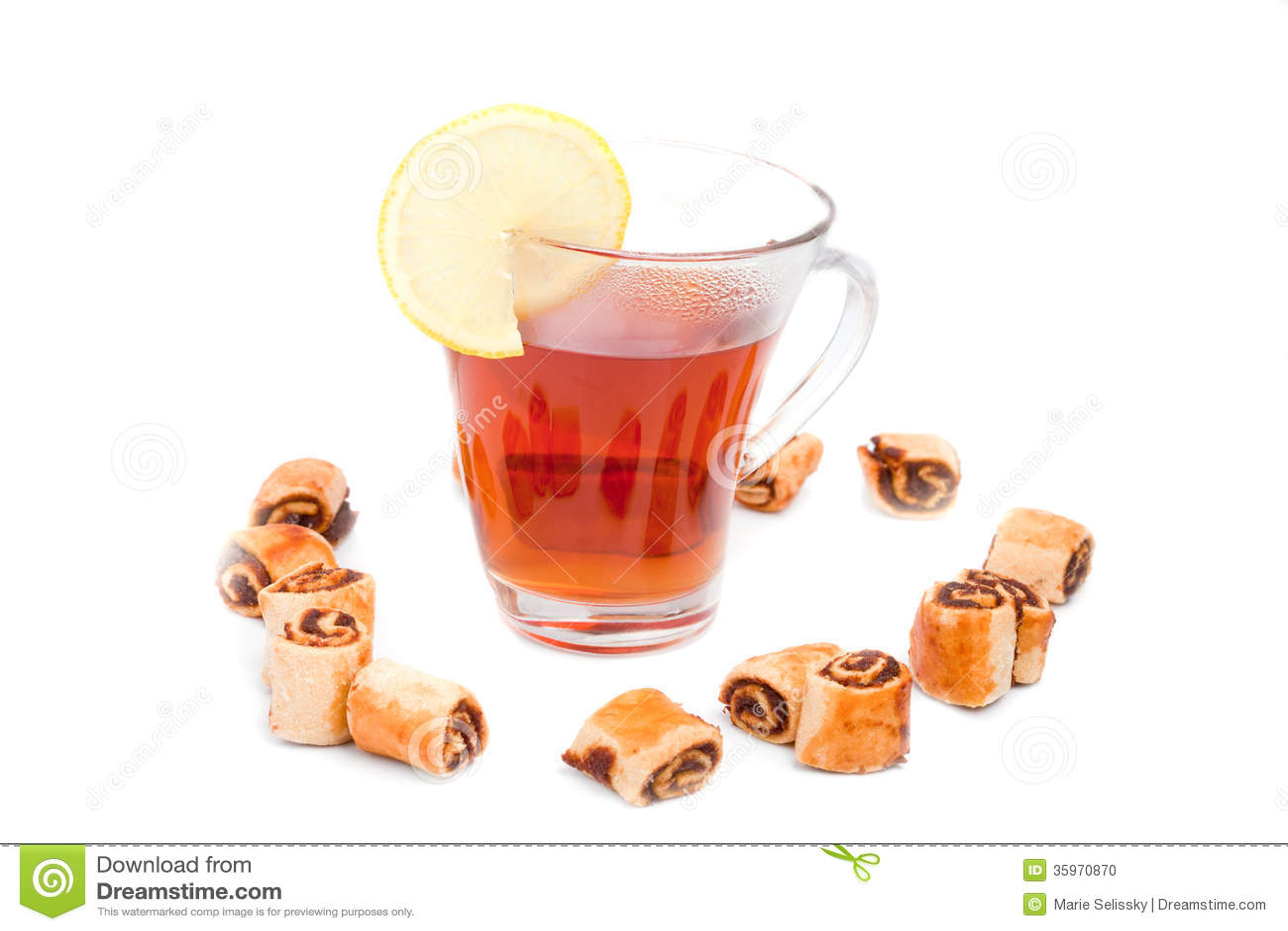 Té con el limón y las galletas