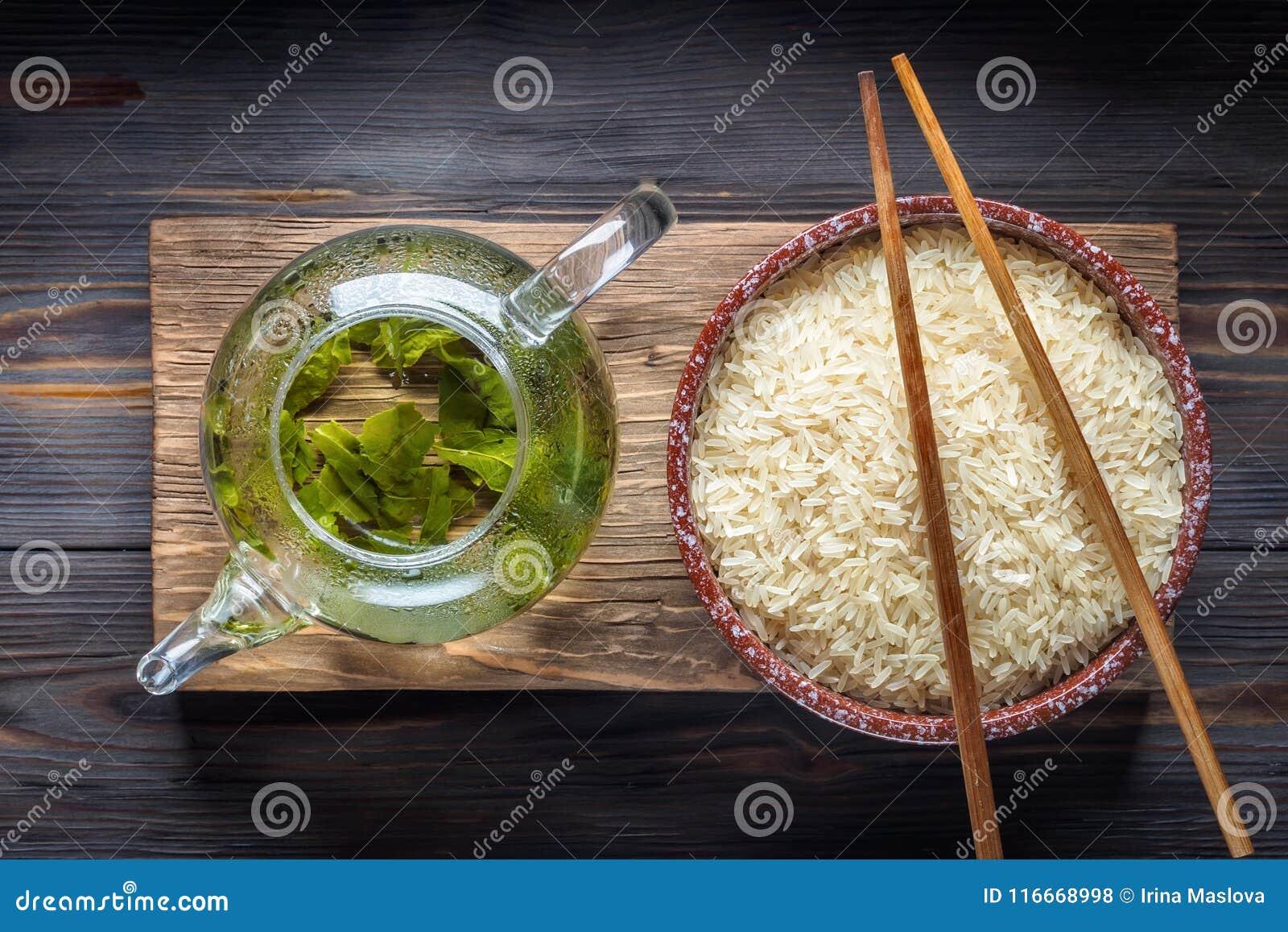 Té verde del chino tradicional de diversa fermentación y del arroz