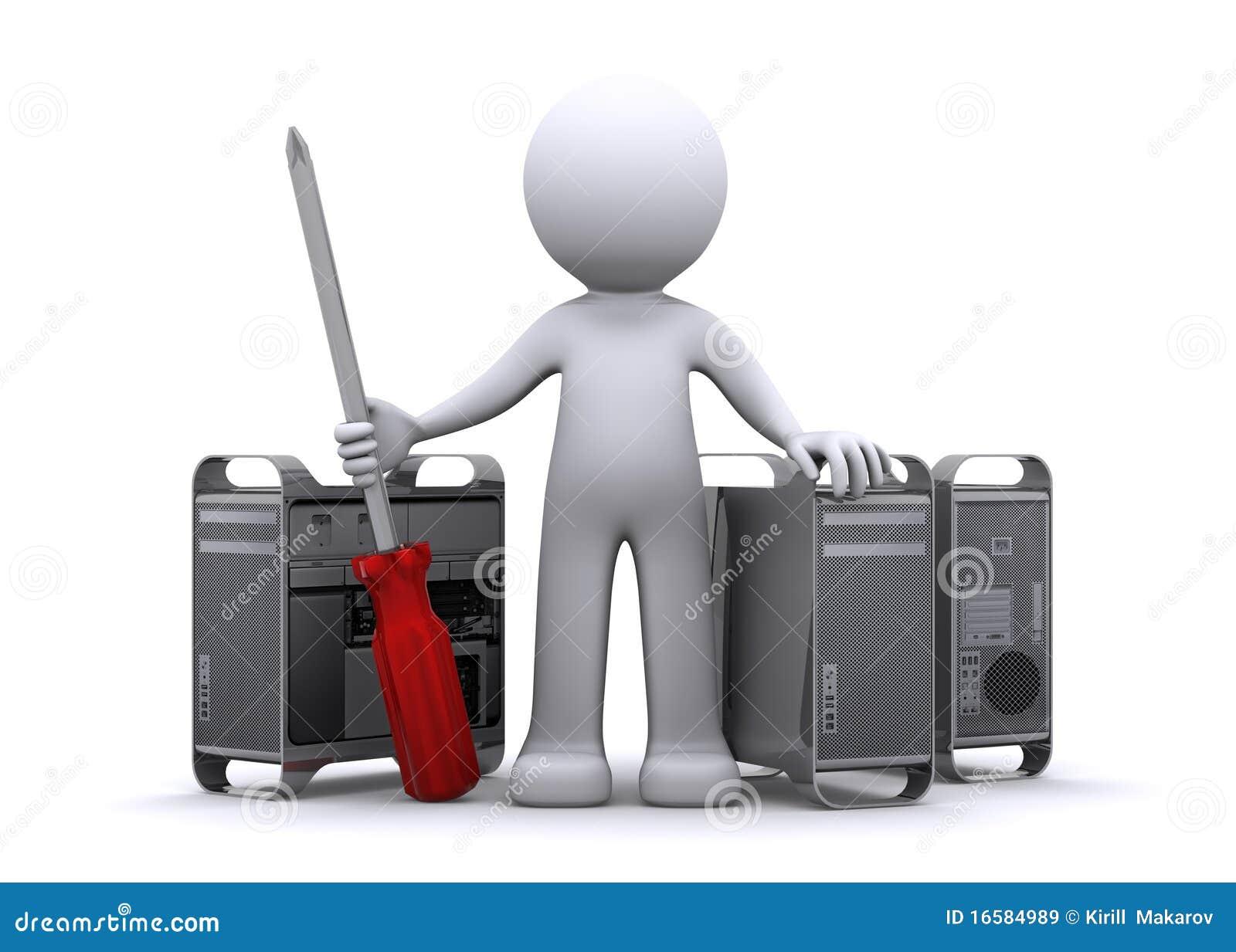 Técnico 3d que repara la PC