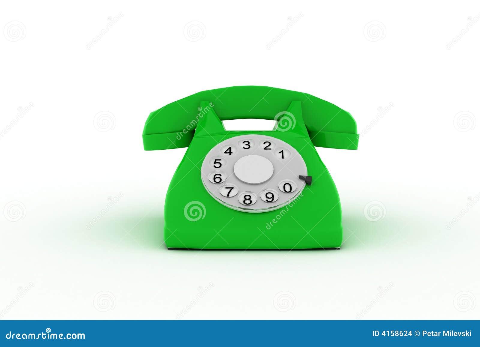 Téléphone 3d vert sur le fond blanc