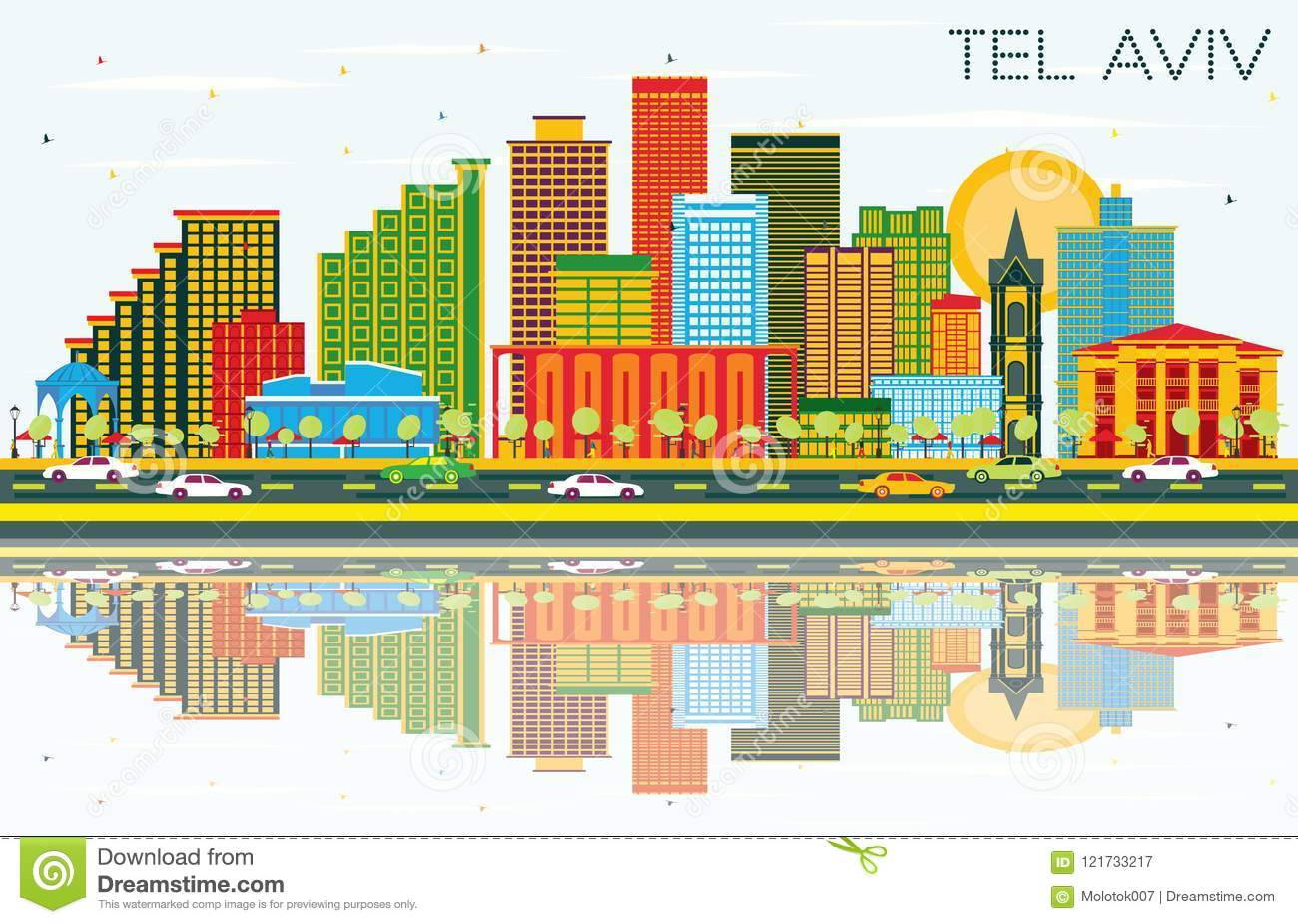 Téléphone Aviv Israel City Skyline avec des bâtiments de couleur, ciel bleu et