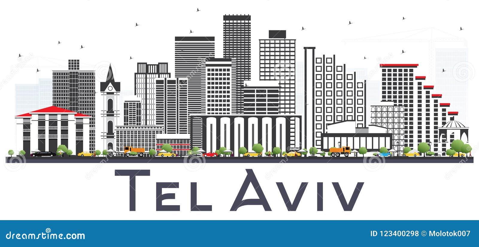 Téléphone Aviv Israel City Skyline avec Gray Buildings Isolated sur Whi