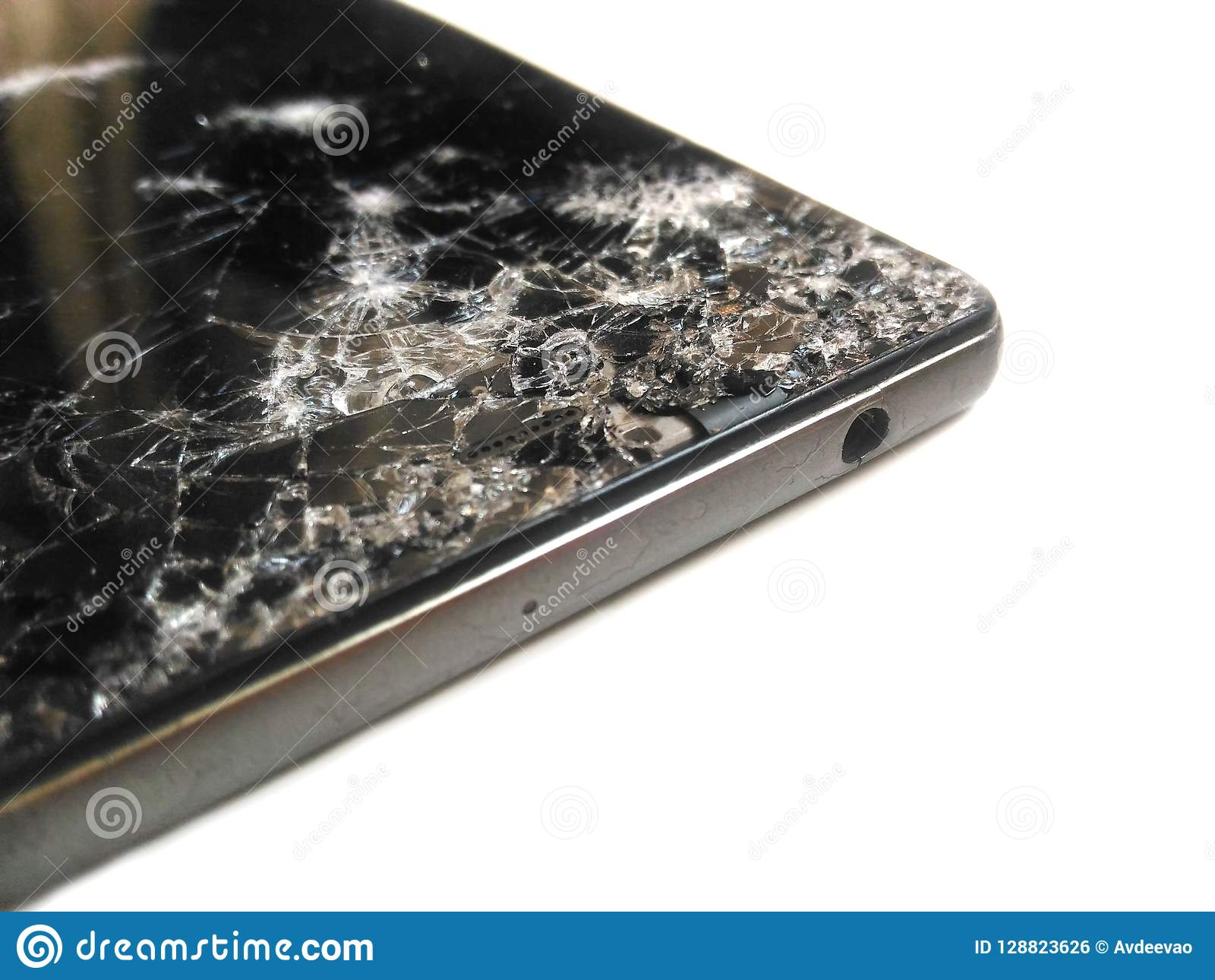 Telephone Casse De Fente D Ecran Smartphone Noir Sur Un Fond