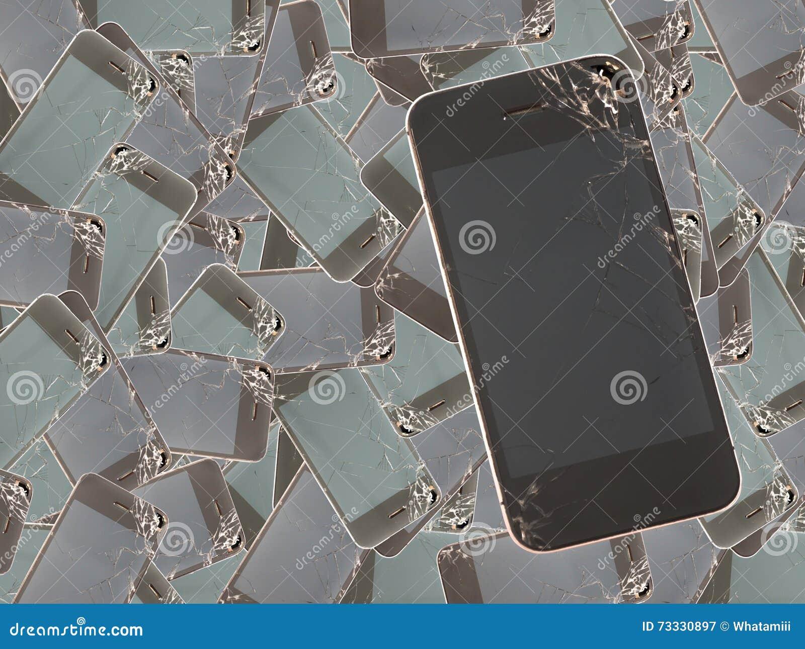 Telephone D Ecran Casse Pour Le Fond Image Stock Image Du
