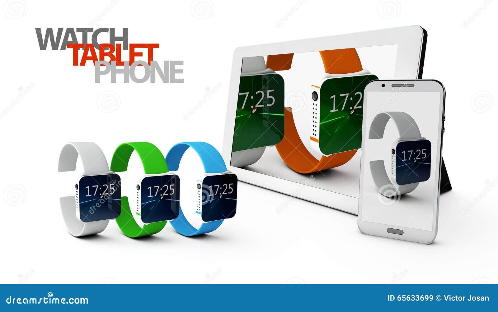 Téléphone 3d et Tablette avec la montre sur le fond blanc
