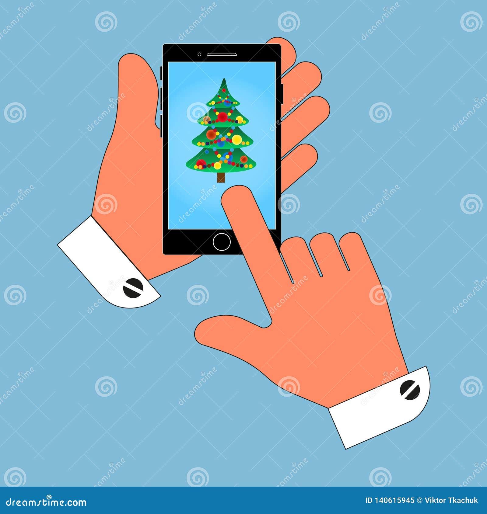 Téléphone d icône dans sa main sur l arbre de Noël d écran, isolat sur le fond bleu Illustration élégante de vecteur