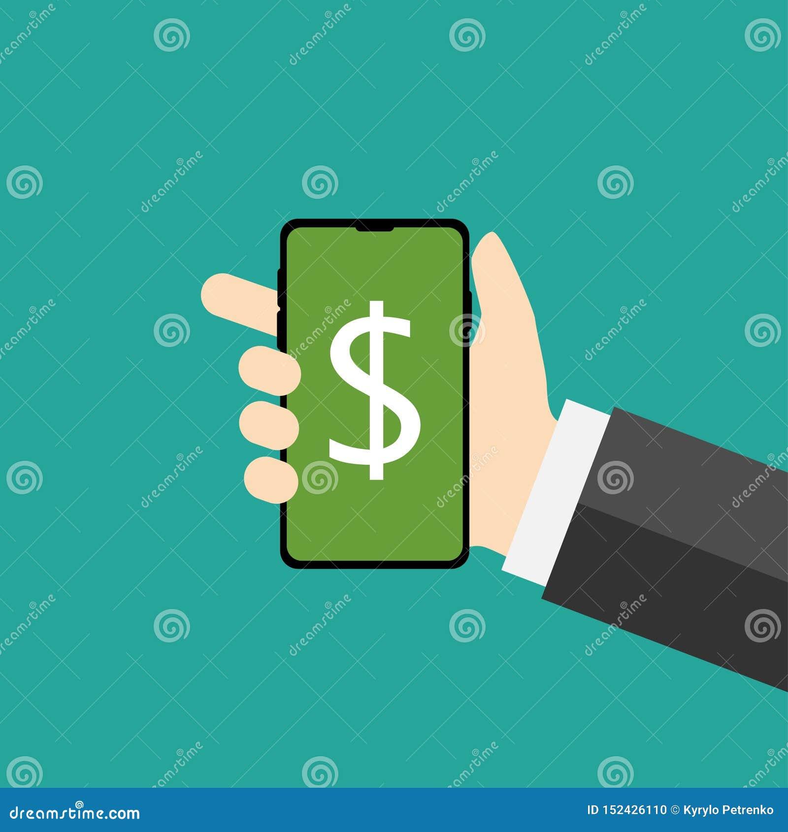 Téléphone dans l icône plate du dollar d apparence de conception