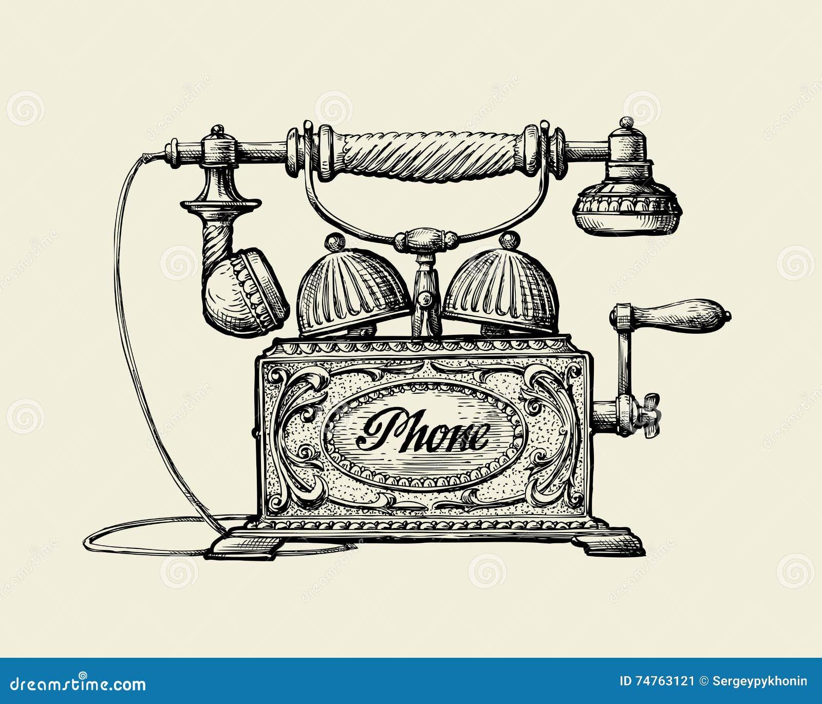 Téléphone de cru Rétro téléphone de croquis tiré par la main Illustration de vecteur