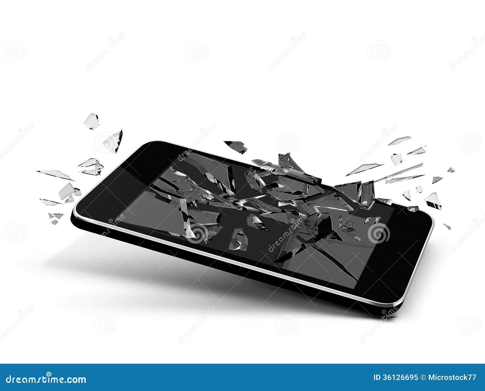 t l phone en verre cass photo libre de droits image 36126695. Black Bedroom Furniture Sets. Home Design Ideas