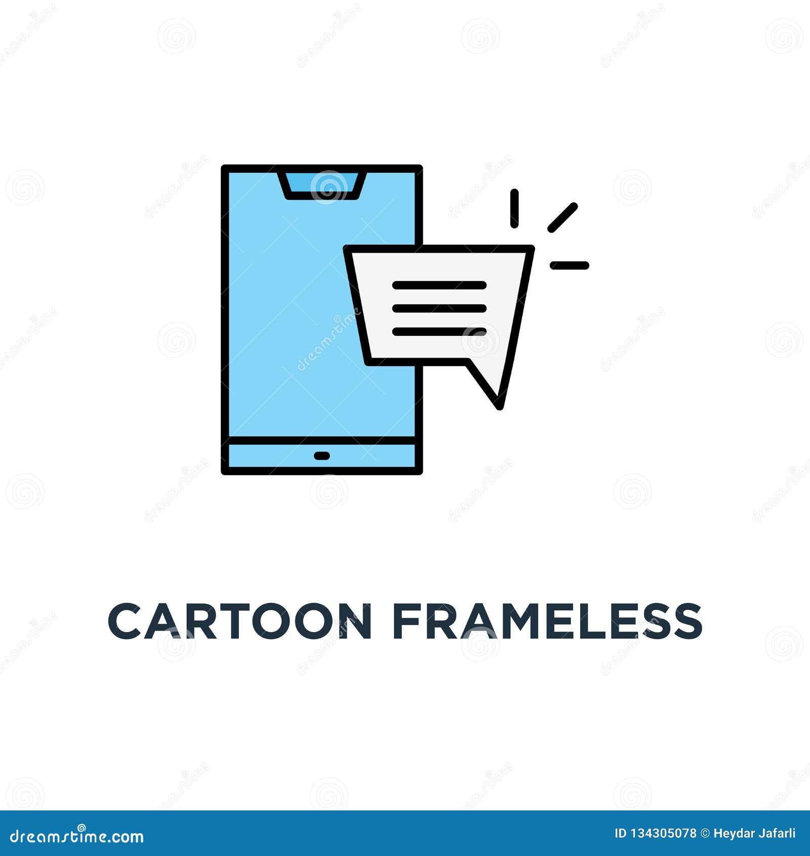 Téléphone frameless de bande dessinée comme l icône en ligne de causerie, symbole de la datation de message et de personnes de Sp