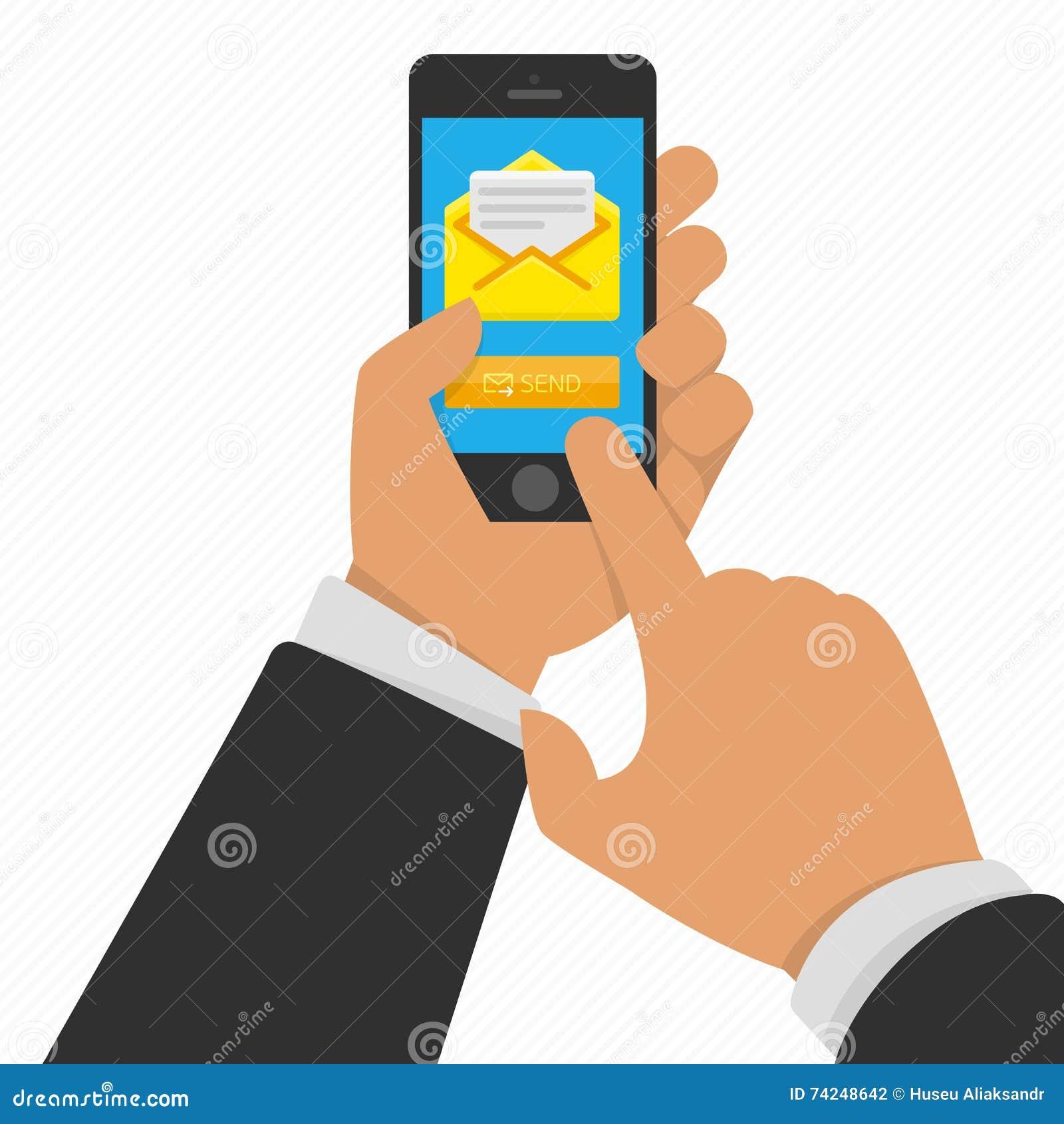 Téléphone intelligent à disposition avec l email