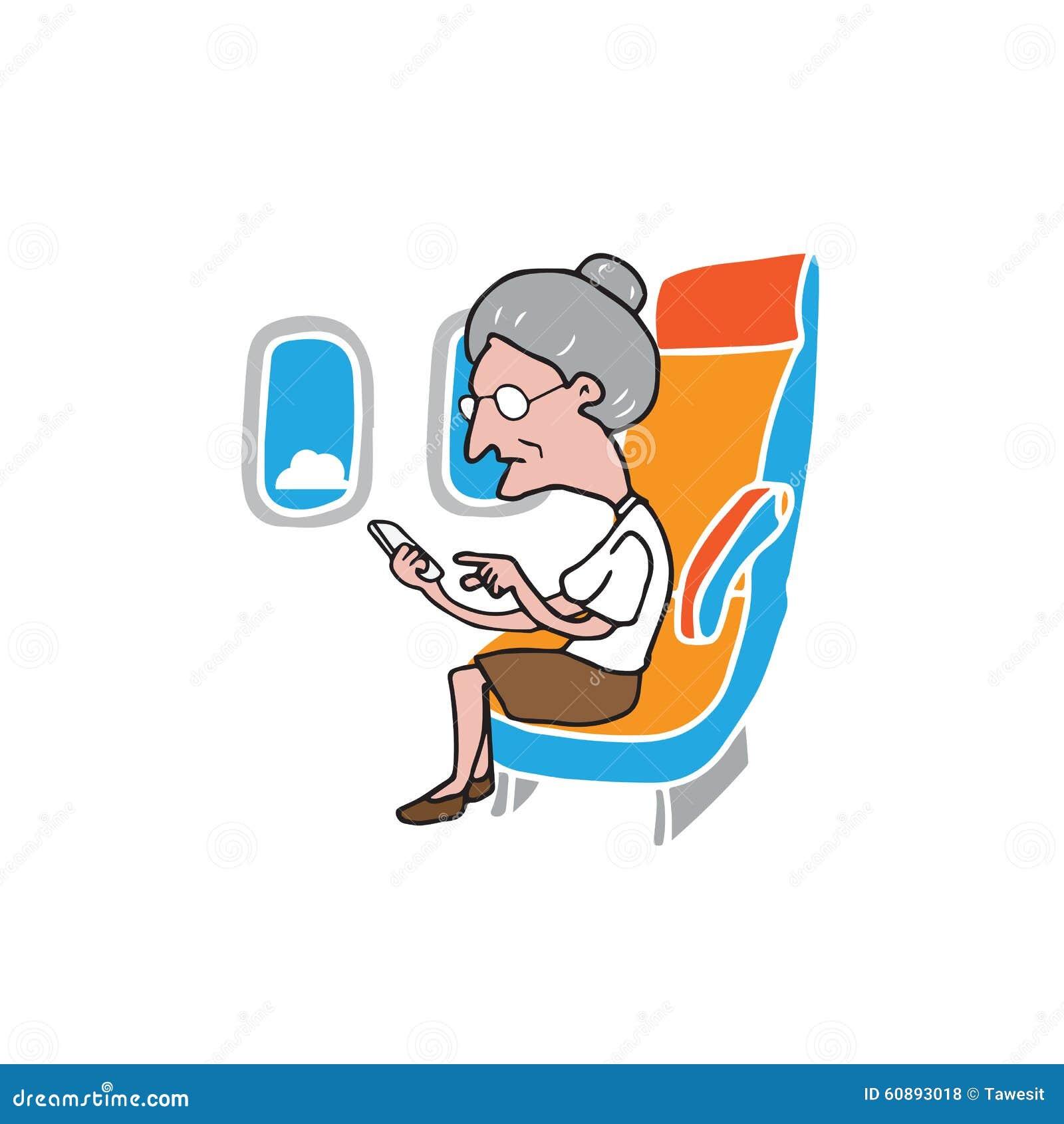 Téléphone intelligent de dame âgée de passager de carlingue d avion
