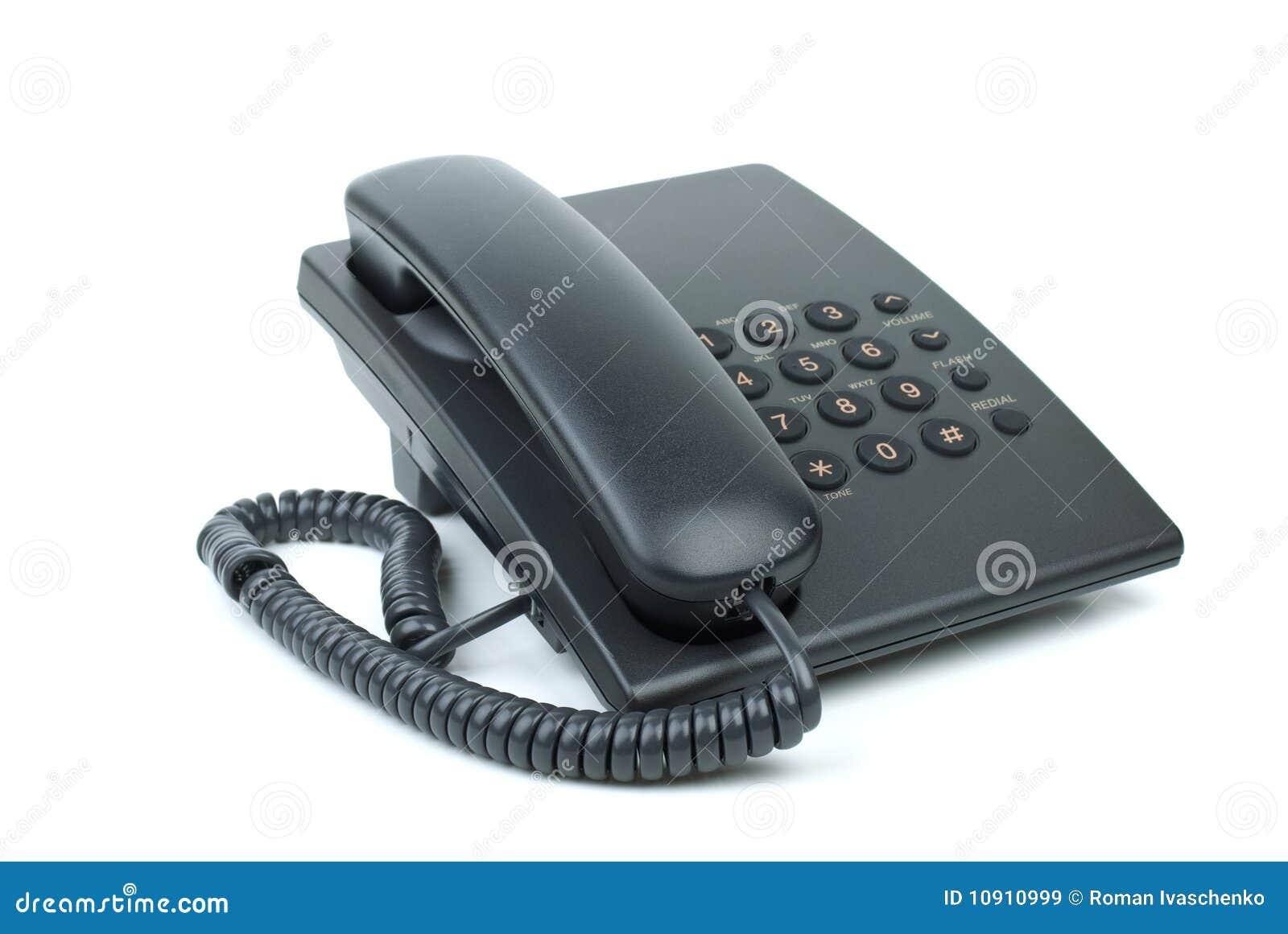 t l phone noir de bureau avec le combin t l phonique avec combin raccroch image stock image. Black Bedroom Furniture Sets. Home Design Ideas