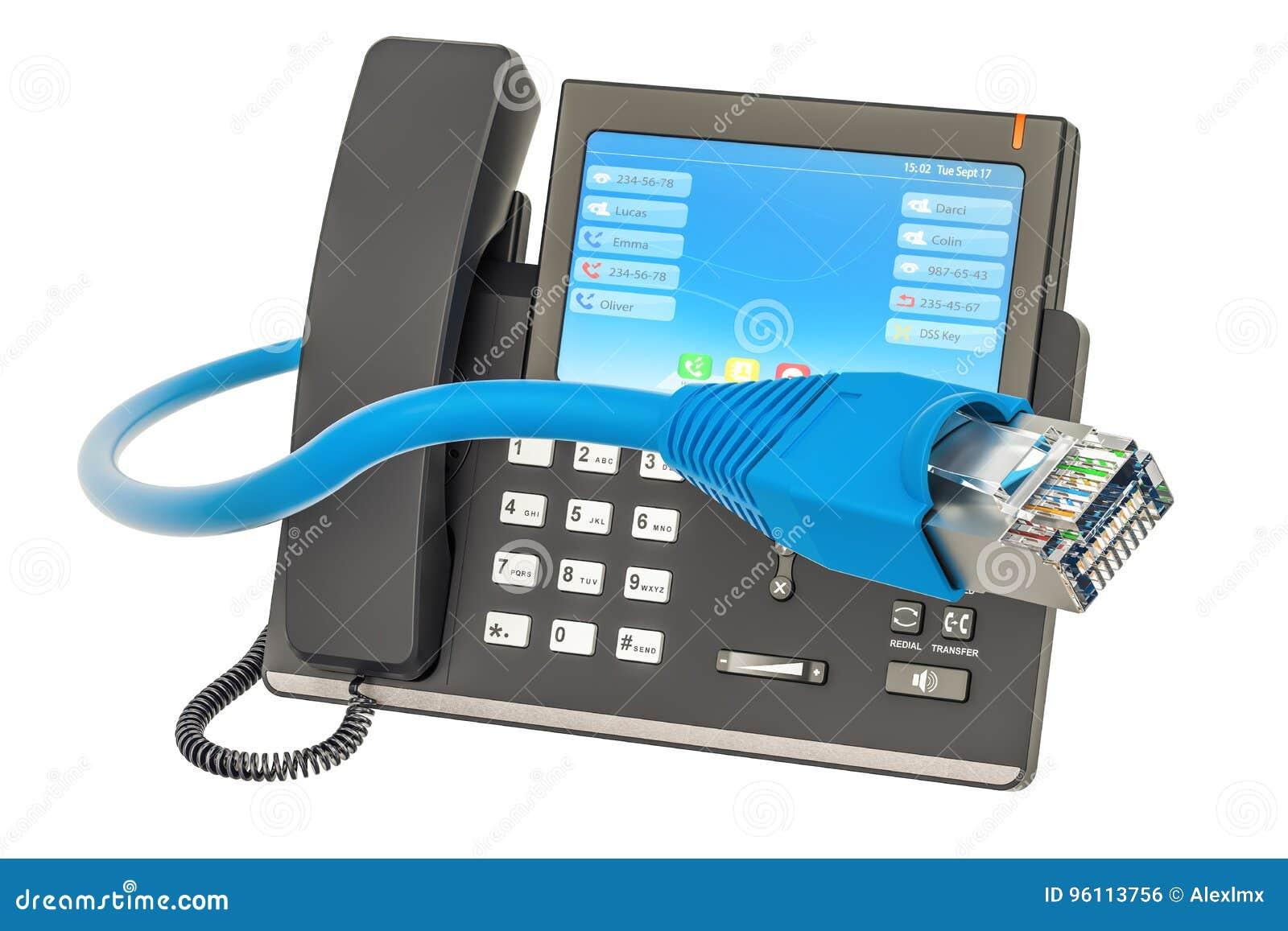 Téléphone noir de récepteur de concept de transmission Téléphone d IP avec le câble LAN, rendu 3D