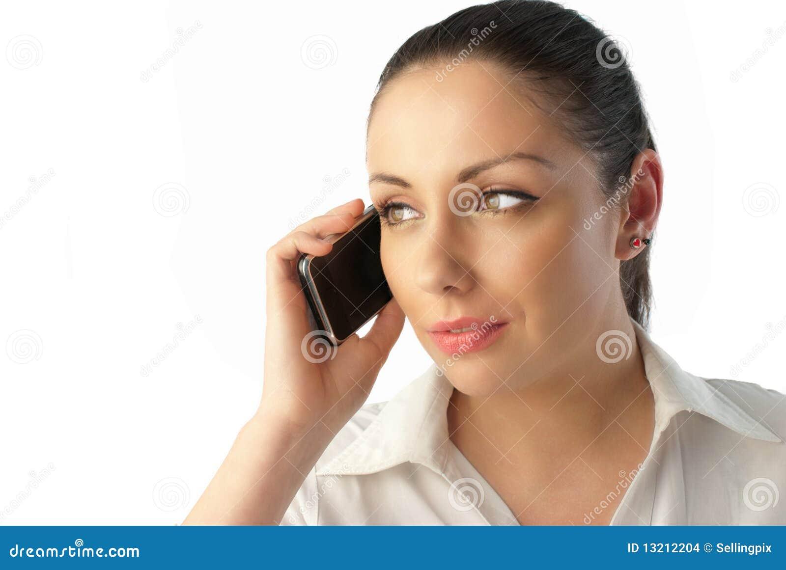 Téléphone parlant de jeune femme d affaires attirante