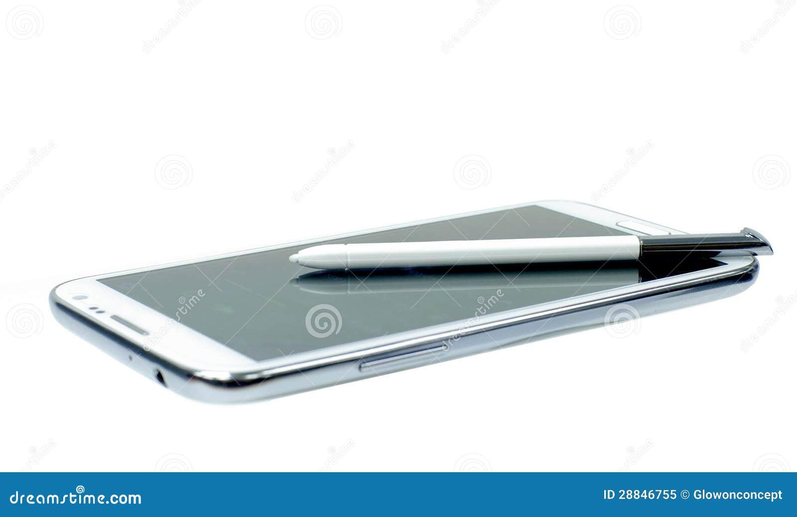 t l phone portable blanc avec le crayon lecteur de stylet. Black Bedroom Furniture Sets. Home Design Ideas