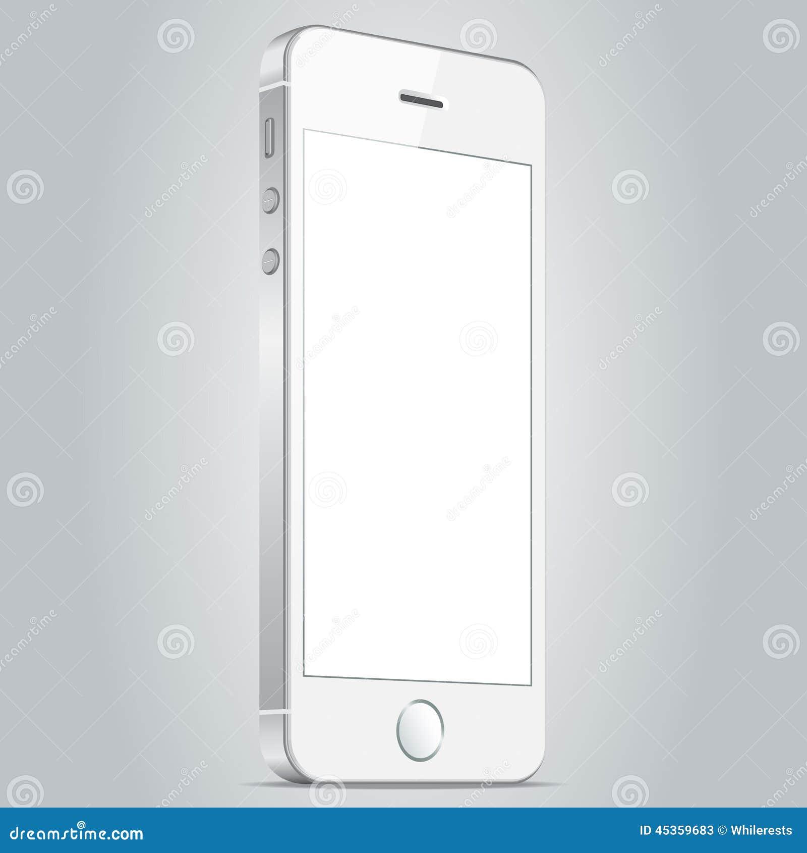 Téléphone portable blanc réaliste Illustration EPS10 de vecteur