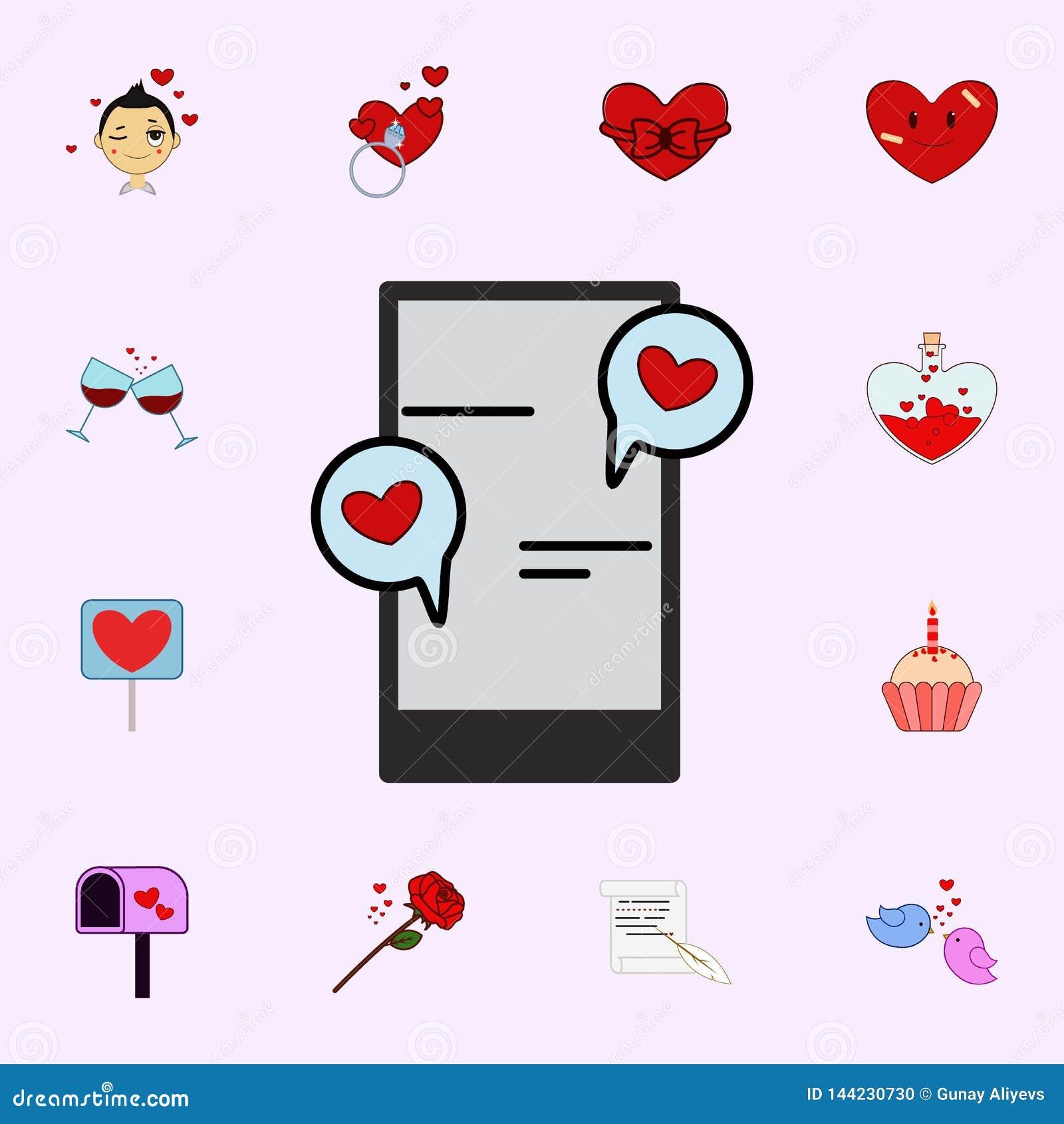 Téléphone portable, causerie, amour, icône de jour de la valentine s de coeur Aimez l ensemble universel d icônes pour le Web et