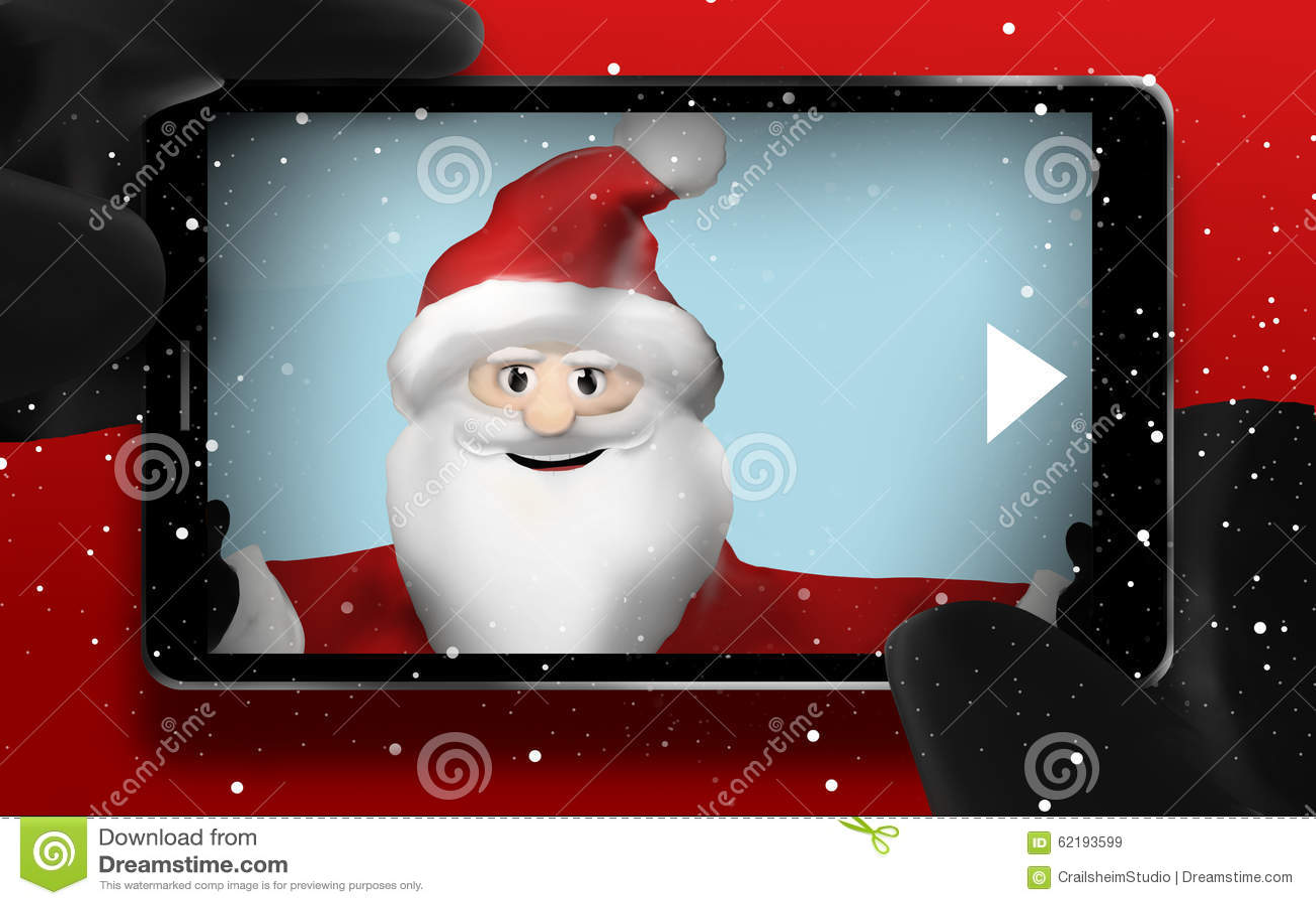 Téléphone Portable De Point De Vue De Santa Claus Browsing Selfie
