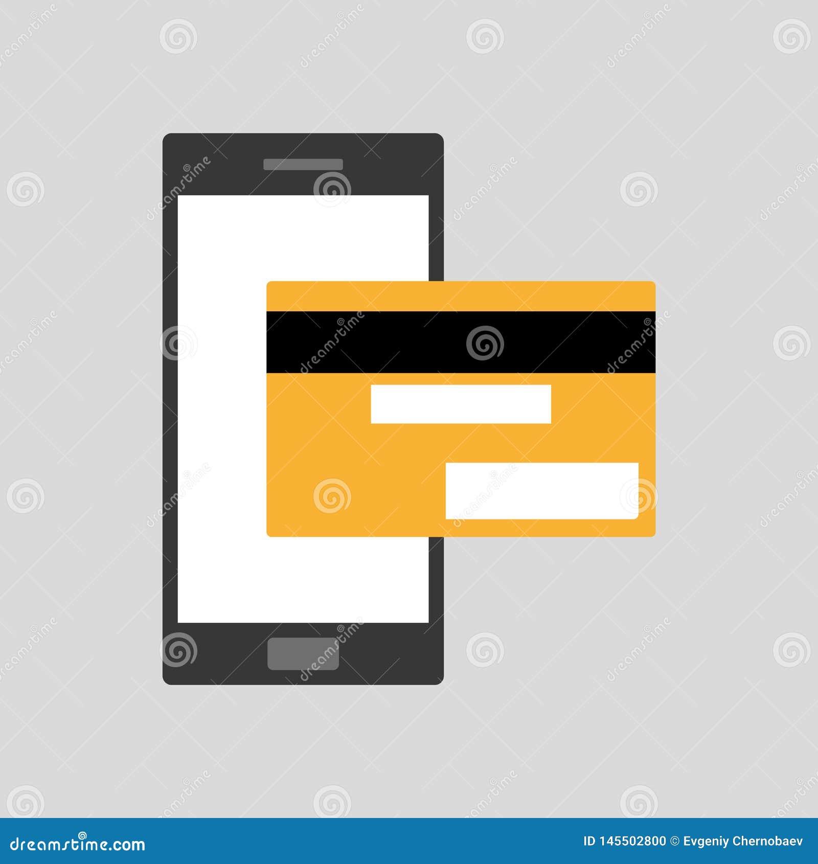 Carte Bancaire Jaune.Telephone Portable Noir De Smartphone De Style Plat Avec Le