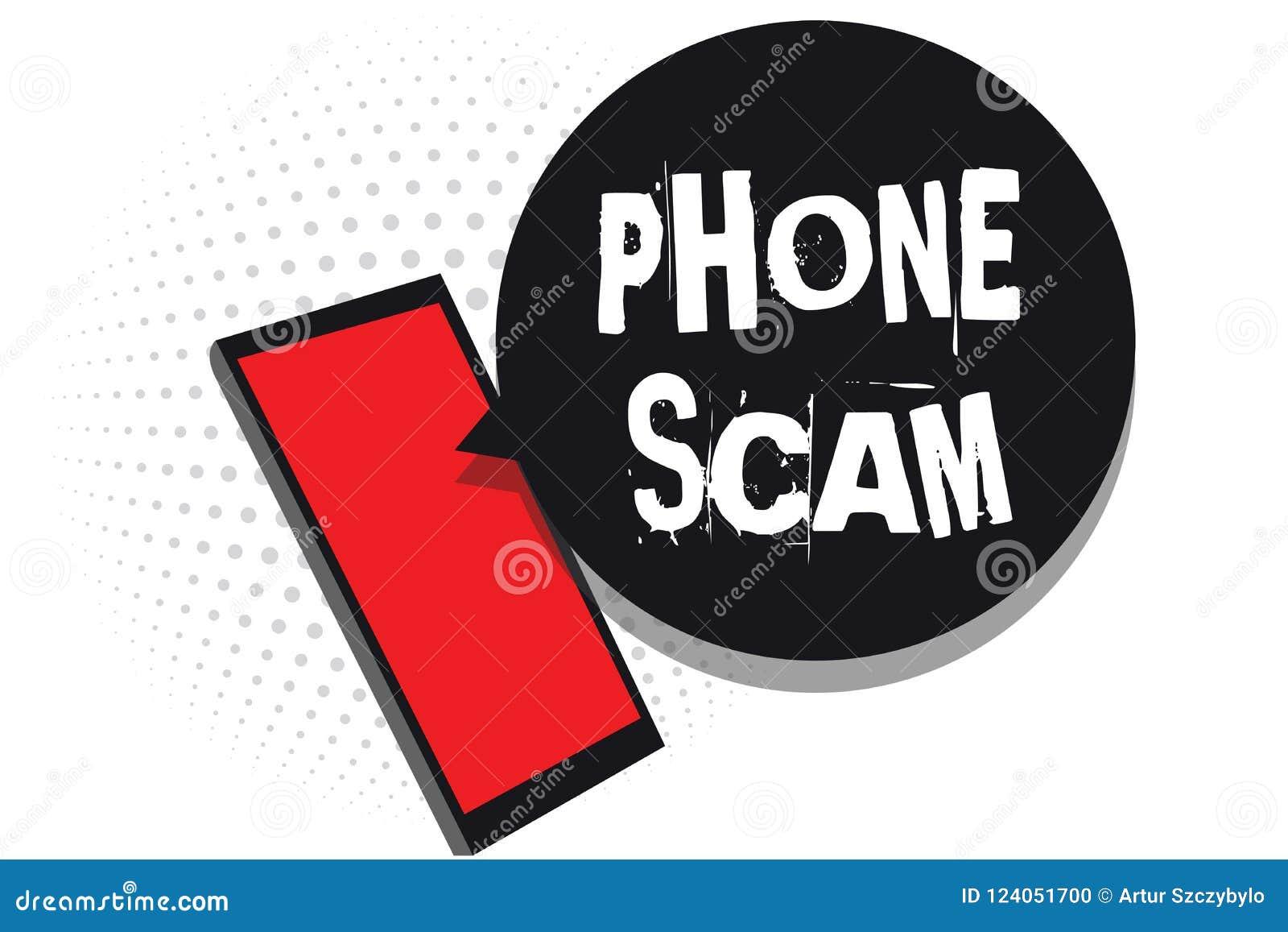 Téléphone Scam des textes d écriture de Word Concept d affaires pour recevoir des appels non désirés pour favoriser des produits