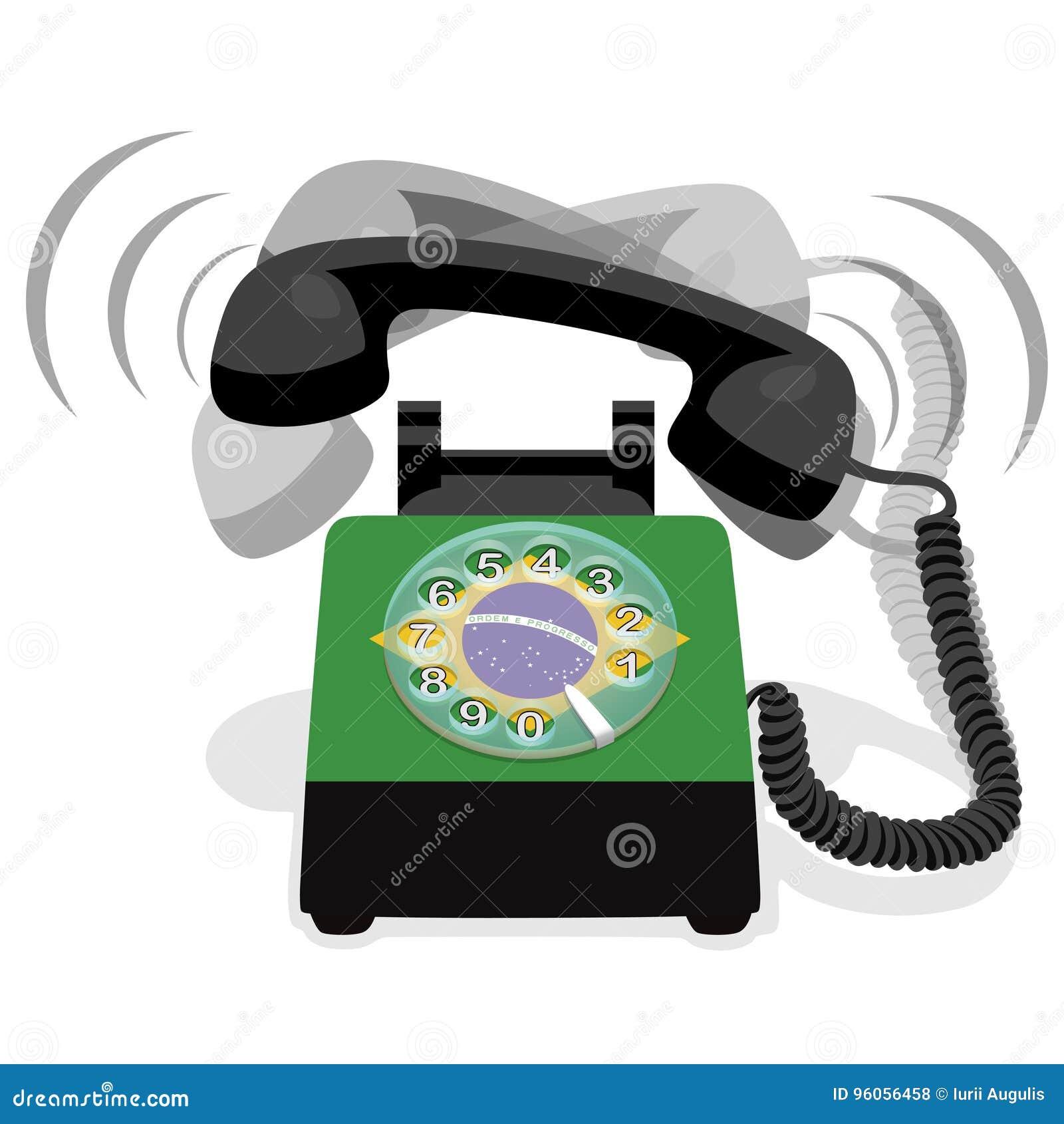 Téléphone stationnaire noir de sonnerie avec le cadran rotatoire et le drapeau du Brésil