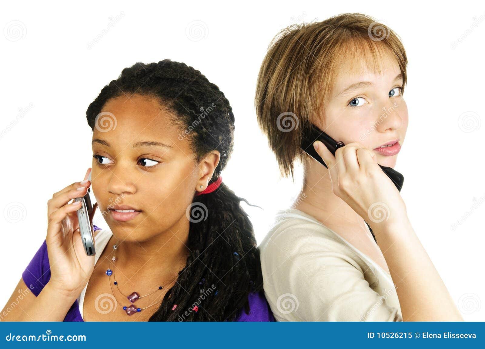 Téléphones portables de filles de l adolescence