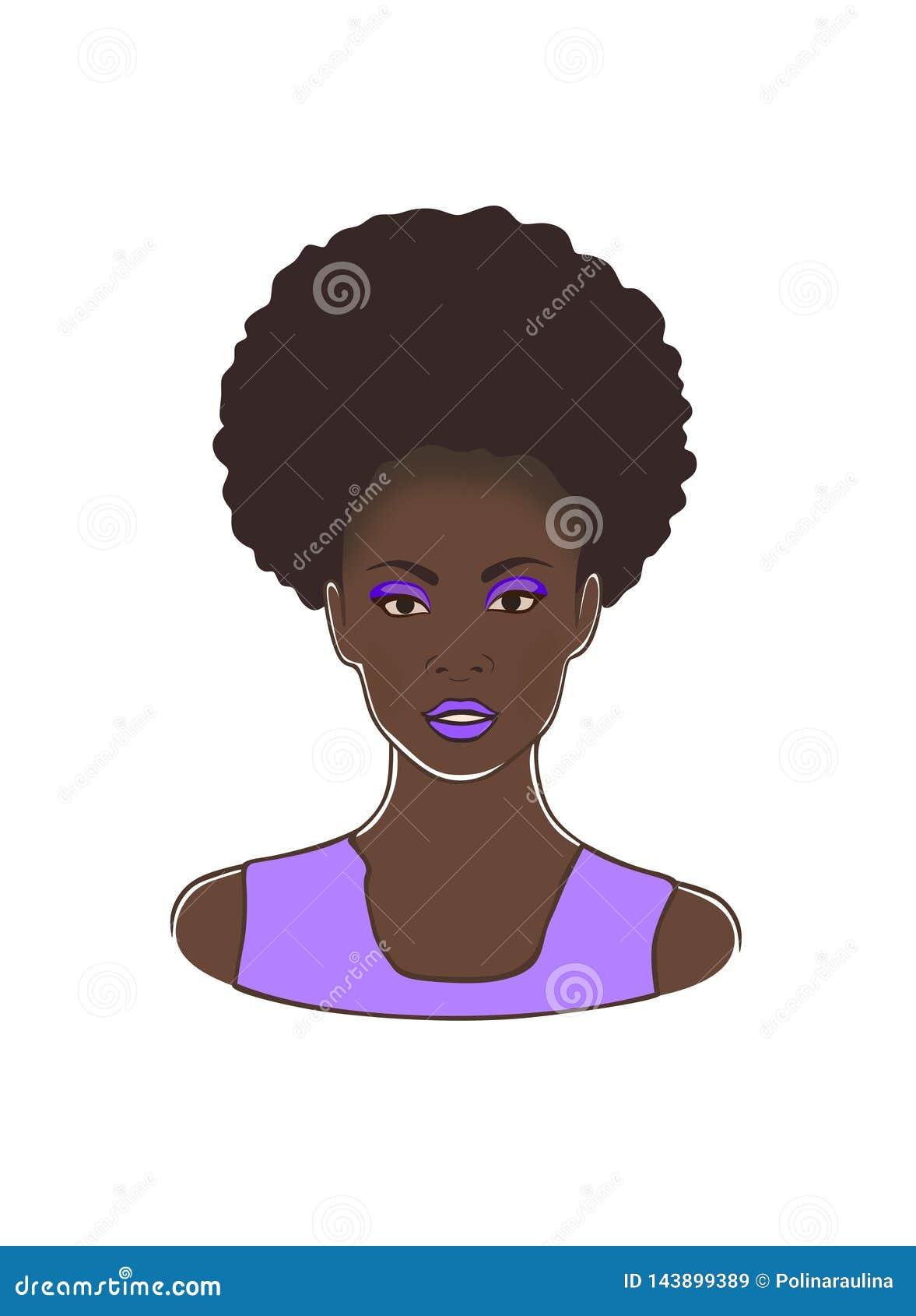 Tête américaine de dame d africain noir de mode avec les lèvres bouclées de queue et de violette de poney de souffle et l illustr